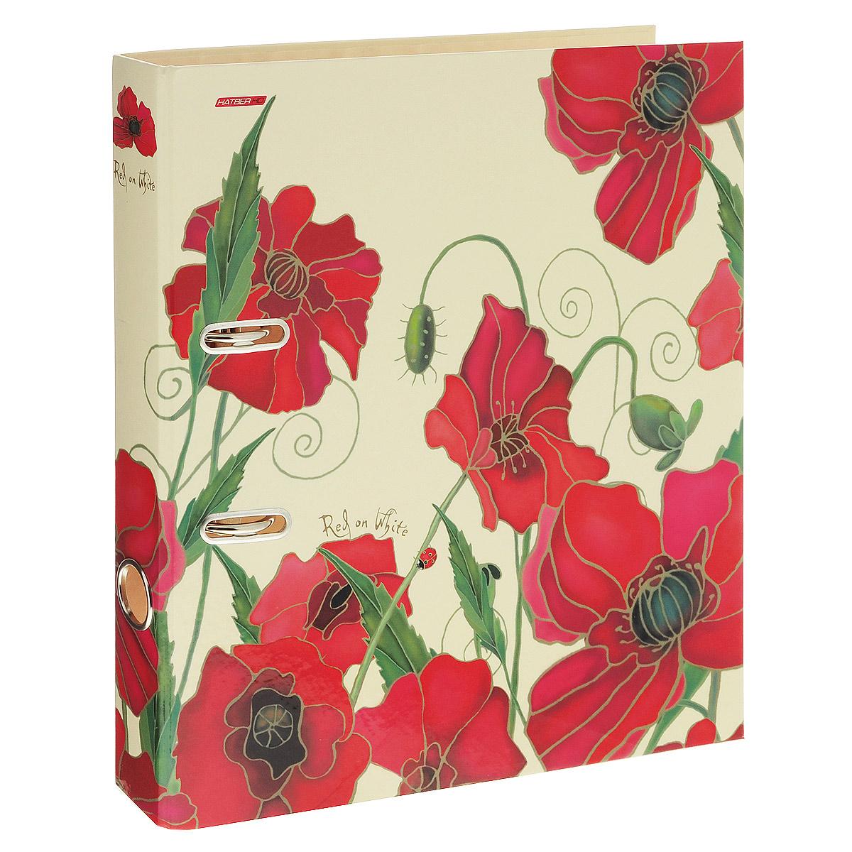 Папка-регистратор Hatber Red on White, ширина корешка 45 мм, цвет: бежевый, красныйПР4_10642Красочная папка-регистратор Hatber Red on White пригодится в каждом офисе и доме для хранения больших объемов документов. Внешняя сторона папки выполнена из плотного ламинированного картона бежевого цвета и оформлена изображениями красных цветов.Папка-регистратор оснащена надежным арочным механизмом крепления бумаги. Круглое отверстие в корешке папки облегчит ее извлечение с полки.