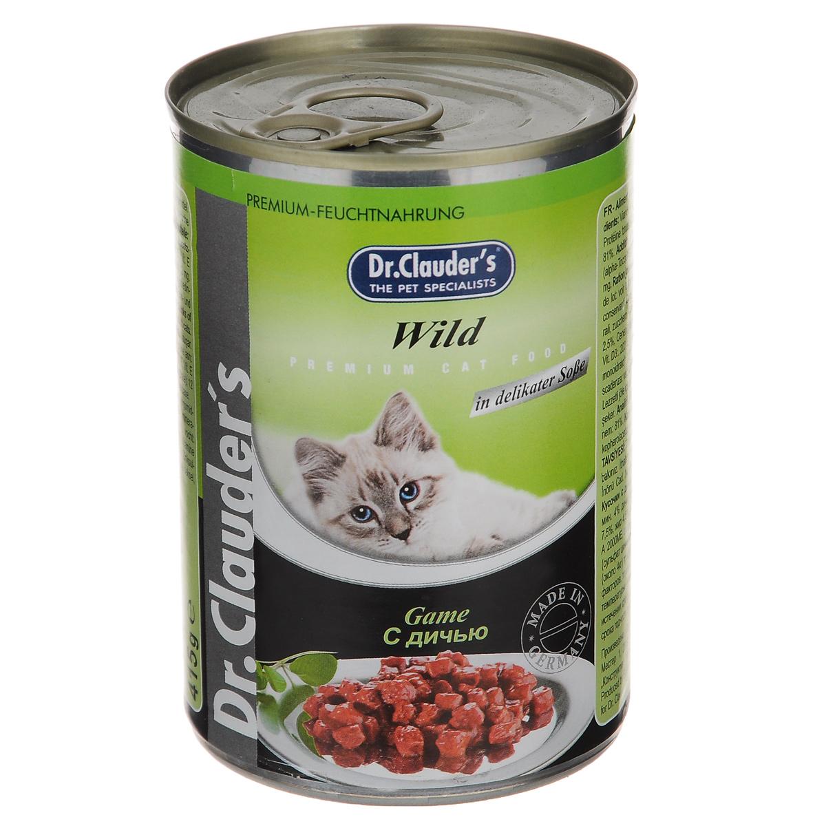 Консервы для кошек Dr. Clauders, с дичью, 415 г20673Консервы для кошек Dr.Clauders - полнорационный корм для взрослых кошек. Кусочки с дичью. Без консервантов и красителей. Состав: мясо и мясные субпродукты (мин. 4% дичи), злаки, минералы, сахар. Содержание питательных веществ: протеин 7,5%, жир 4,5%, зола 2,5%, клетчатка 0,5%, влага 81%.Пищевые добавки (на 1 кг): витамин А 20000 МЕ, витамин D3 200 МЕ, витамин Е (альфа-токоферол) 20 мг, таурин 350 мг, цинк 12 мг. Товар сертифицирован.