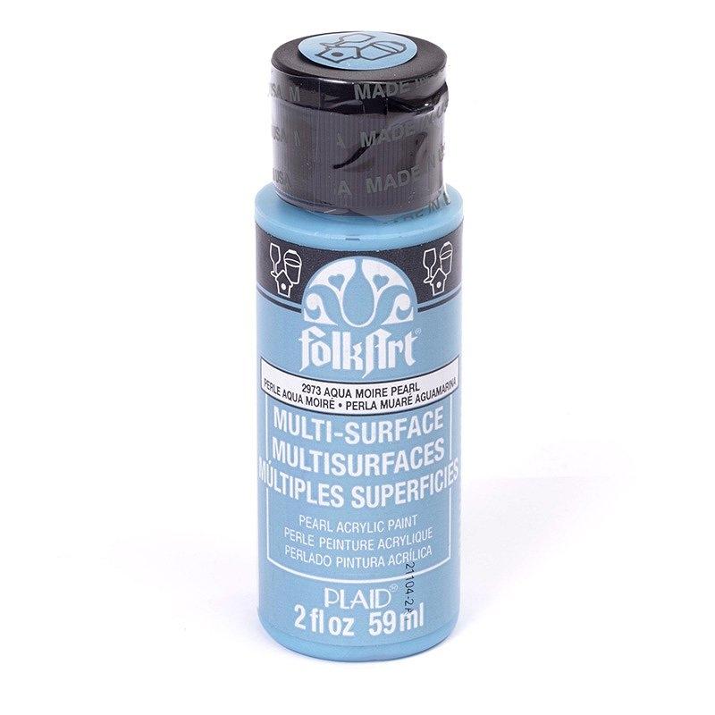 Краска акриловая FolkArt Multi-Surface Pearl, цвет: перламутровый аква муар (2973), 59 млPLD-02973Краска акриловая FolkArt Multi-Surface Pearl - это прочная погодоустойчивая сатиновая краска с перламутровым отливом. Не токсична, на водной основе. Предназначена для различных видов поверхностей: стекло, керамика, дерево, металл, пластик, ткань, холст, бумага, глина. Идеально подходит как для использования в помещении, так и для наружного применения.Изделия, покрытые такой краской, можно мыть в посудомоечной машине в верхнем отсеке. Перед применением краску необходимо хорошо встряхнуть. Краски разных цветов можно смешивать между собой. Перед повторным нанесением краски дать высохнуть в течении 1 часа. До высыхания может быть смыта водой с мылом.