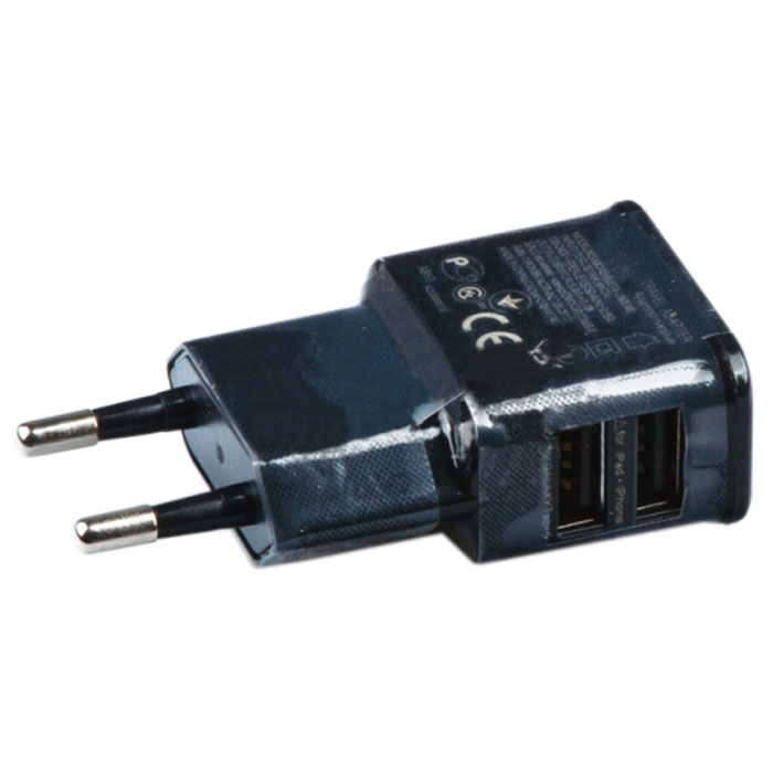 Liberty Project зарядное устройство на 2 USB выхода 2А, Black (форма Samsung)