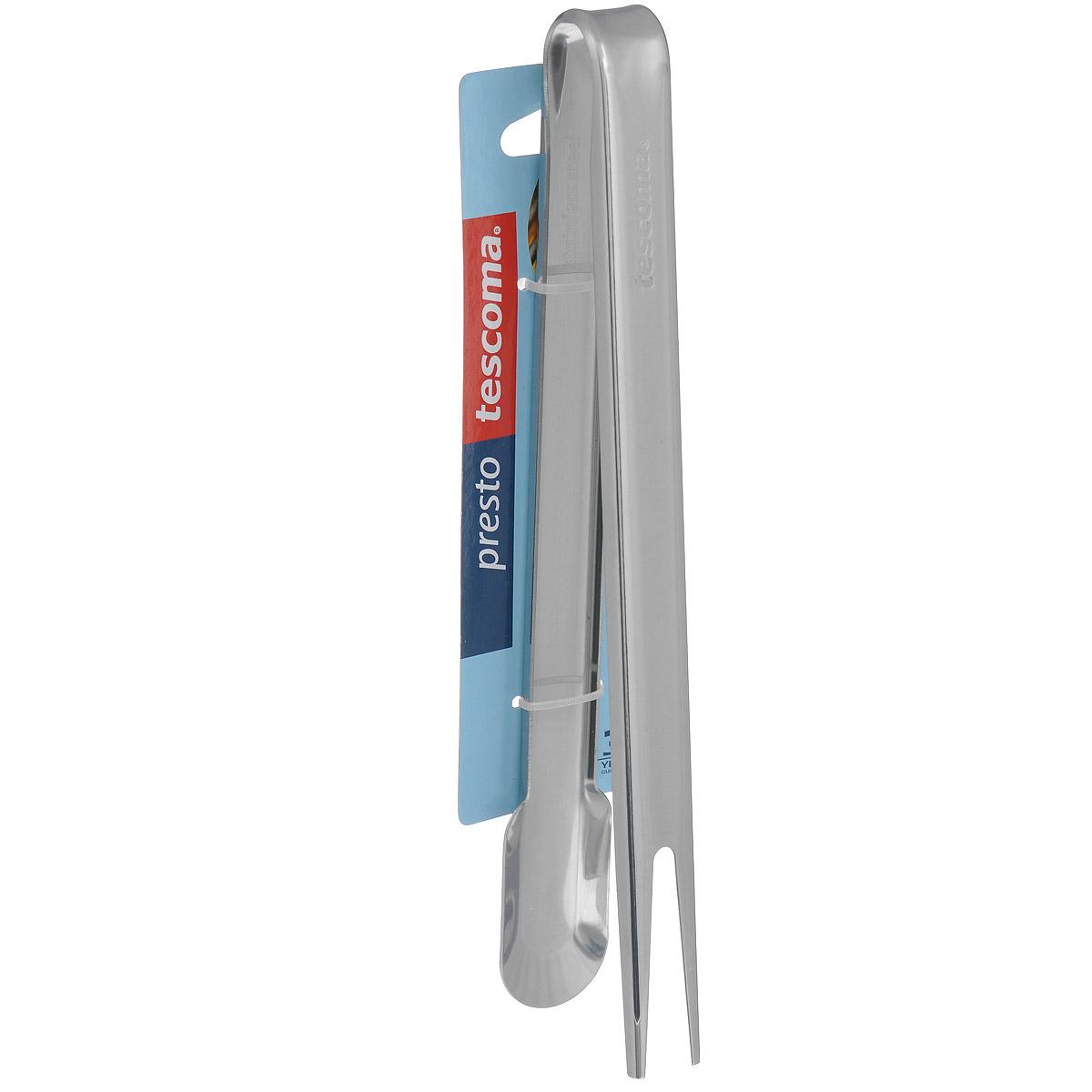 Щипцы Tescoma Presto, с вилкой , длина 24 см420525Щипцы с вилкой Tescoma Presto выполнены из высококачественного нержавеющей стали и предназначены для приготовления стейков, мяса гриль и барбекю.Щипцы Tescoma Prestoстанут отличным дополнением к коллекции ваших кухонных аксессуаров. Можно мыть в посудомоечной машине. Общая длина: 24 см.