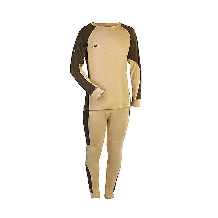 Термобелье мужское Norfin Comfort Line: футболка с длинным рукавом, брюки, цвет: бежевый, темно-зеленый. 302100. Размер S (44/46)302100Мужское термобелье Norfin Comfort Line, состоящее из футболки с длинным рукавом и брюк, предназначено для средней физической активности. Термобелье изготовлено из полиэстера с добавлением спандекса. Чтобы не стеснять движений тела, термобелье имеет максимальную эластичность в необходимых зонах. В области поясницы и седалища предусмотрены дополнительные флисовые вставки, которые не только служат дополнительной защитой от холода, но и создают дополнительный комфорт. Футболка с длинными рукавами-реглан имеет круглый вырез горловины. Рукава дополнены широкими эластичными манжетами. Спинка изделия удлинена. На груди футболка оформлена небольшой вышивкой в виде названия бренда. Брюки на талии имеют широкий эластичный пояс, дополненный скрытым шнурком. Низ брючин дополнен широкими эластичными манжетами.