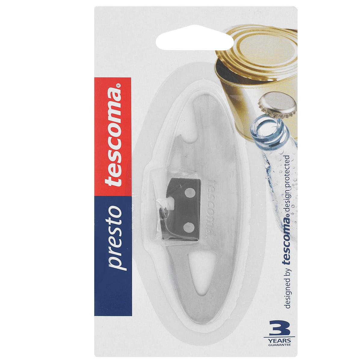 Нож консервный Tescoma Presto, компактный, длина 10,5 см420252Консервный нож Tescoma Presto выполнен из высококачественной нержавеющей стали 18/10. С помощью этого компактного консервного ножа вы сможете без приложения усилий со своей стороны открыть любую жестяную консервную банку. Консервный нож Tescoma Presto займет достойное место среди аксессуаров на вашей кухне. Оригинальный дизайн и качество исполнения не оставят равнодушными ни тех, кто любит готовить, ни опытных профессионалов-поваров. Общая длина ножа: 10,5 см.Компактный консервный нож Tescoma изготовлен из нержавеющей стали. Предназначен для удобного открывания консервов. Так же нож прекрасно подойдет для открывания бутылок с кронен-пробками.