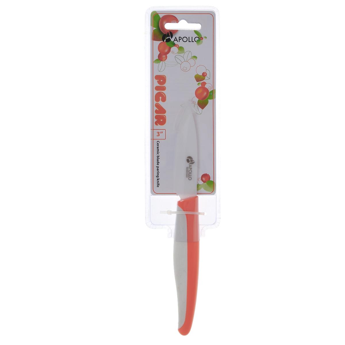 Нож для чистки овощей Apollo Picar, керамический, цвет: оранжевый, длина лезвия 8 смPCR-03оранжевыйНож Apollo Picar изготовлен из высококачественной циркониевой керамики - гигиеничного, экологически чистого материала. Нож имеет острое лезвие, не требующее дополнительной заточки. Эргономичная рукоятка выполнена из высококачественного пищевого пластика. Рукоятка не скользит в руках и делает резку удобной и безопасной. Такой нож желательно использовать для нарезки овощей, фруктов или других мягких продуктов. Керамика - это отличная альтернатива металлу. В отличие от стальных ножей, керамические ножи не переносят ионы металла в пищу, не разрушаются от кислот овощей и фруктов и никогда не заржавеют. Этот нож будет служить вам многие годы при соблюдении простых правил.Общая длина ножа: 19 см.