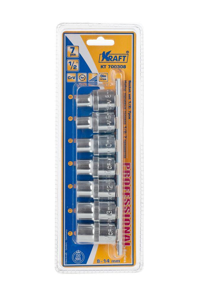 Набор торцевых головок Kraft Professional, 1/2, 8 мм - 14 мм, 7 штКТ700308В набор Kraft Professional входят шестигранные торцевые головки на планке под квадрат 1/2 следующих размеров: 8 мм, 9 мм, 10 мм, 11 мм, 12 мм, 13 мм, 14 мм. Головки выполнены из хромованадиевой стали.Торцевые головки Kraft Professional изготовлены из хромованадиевой стали марки 50BV30 со специальным трехслойным покрытием, обеспечивающим долговременную защиту от механических повреждений.
