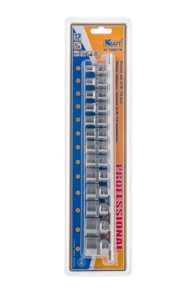 Набор торцевых головок Kraft Professional, 3/8, 6 мм - 19 мм, 13 штКТ700316В набор Kraft Professional входят шестигранные торцевые головки на планке под квадрат 3/8 следующих размеров: 6 мм, 7 мм, 8 мм, 9 мм, 10 мм, 11 мм, 12 мм, 13 мм, 14 мм, 15 мм, 16 мм, 17 мм, 19 мм. Головки выполнены из хромованадиевой стали.Торцевые головки Kraft Professional изготовлены из хромованадиевой стали марки 50BV30 со специальным трехслойным покрытием, обеспечивающим долговременную защиту от механических повреждений.