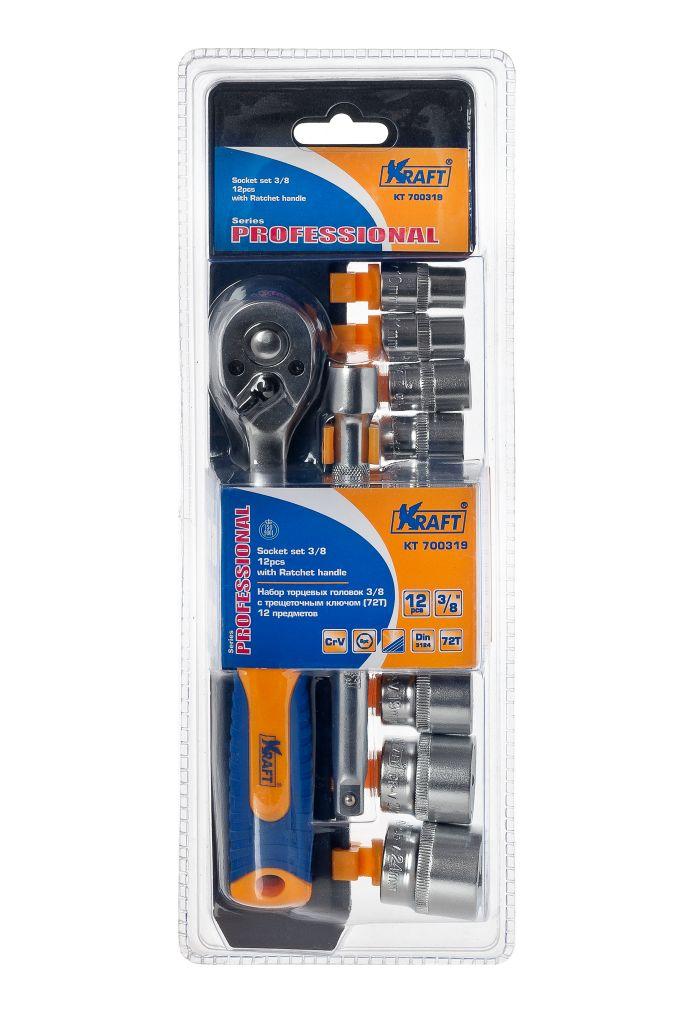 Набор торцевых головок Kraft Professional, с трещоточным ключом, 3/8, 12 предметовКТ700319Набор слесарно-монтажного инструмента Kraft Professional предназначен для работы с резьбовыми соединениями. Торцевые головки имеют шестигранный зев и посадочное место для присоединительного квадрата 3/8. Головка с храповым механизмом устраняет необходимость каждый раз устанавливать ключ на крепежный элемент.Состав набора: шестигранные торцевые головки 3/8: 10 мм, 11 мм, 12 мм, 13 мм, 14 мм, 15 мм, 17 мм, 19 мм, 22 мм, 24 мм; рукоятка трещоточная с быстрым сбросом 3/8: 210 мм, 72 зубца; удлинитель 3/8: 150 мм.Торцевые головки Kraft Professional изготовлены из хромованадиевой стали марки 50BV30 со специальным трехслойным покрытием, обеспечивающим долговременную защиту от механических повреждений.
