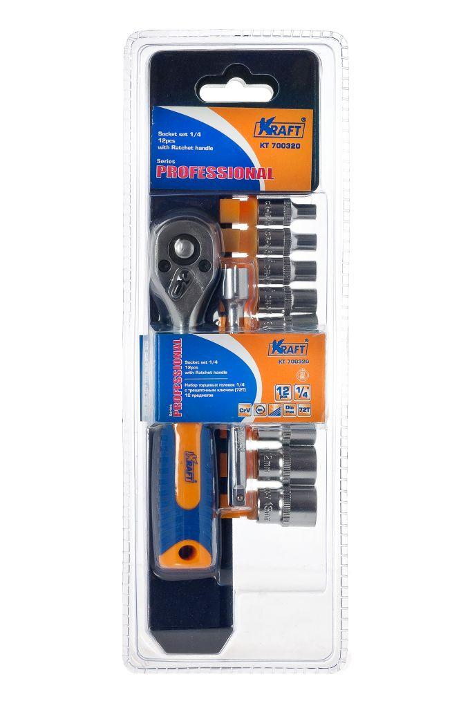 Набор торцевых головок Kraft Professional, с принадлежностями, 12 предметовКТ700320Набор торцевых головок Kraft Professional предназначен для монтажа и демонтажа резьбовых соединений. В набор входит трещоточный ключ, оснащенный удобной двухкомпонентной рукояткой. Торцевые головки Kraft Professional изготовлены из хромованадиевой стали марки 50BV30 со специальным трехслойным покрытием, обеспечивающим долговременную защиту от механических повреждений. Состав набора:Торцевые головки 1/4: 4 мм, 5 мм, 6 мм, 7 мм, 8 мм, 9 мм, 10 мм, 11 мм, 12 мм, 13 мм.Удлинитель: 10 см.Трещоточный ключ 72Т.