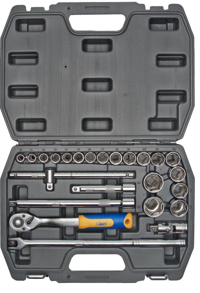 Набор инструментов Kraft Professional, 1/2, 25 предметовКТ 700301Набор торцевых головок и принадлежностей Kraft Professional из 25 предметов, позволяет производить слесарно-монтажные работы с крепежом в диапазоне размеров от 10 мм до 32 мм. Полнофункциональный набор принадлежностей для работы с приводом 1/2.Состав набора: головки торцевые шестигранные 1/2: 10 мм, 11 мм, 12 мм, 13 мм, 14 мм, 15 мм, 16 мм, 17 мм, 18 мм, 19 мм, 20 мм, 21 мм, 22 мм, 23 мм, 24 мм, 27 мм, 30 мм, 32 мм; кардан шарнирный 1/2; вороток Т-образный 1/2; переходник 3/8 (F) х 1/2 (М);вороток шарнирный 1/2: 360 мм; удлинители 1/2: 125 мм, 250 мм; рукоятка трещоточная с быстрым сбросом 1/2: 250 мм, 72 зубца.Элементы набора Kraft Professional изготовлены из хромованадиевой стали марки 50BV30 со специальным трехслойным покрытием, обеспечивающим долговременную защиту от механических повреждений.