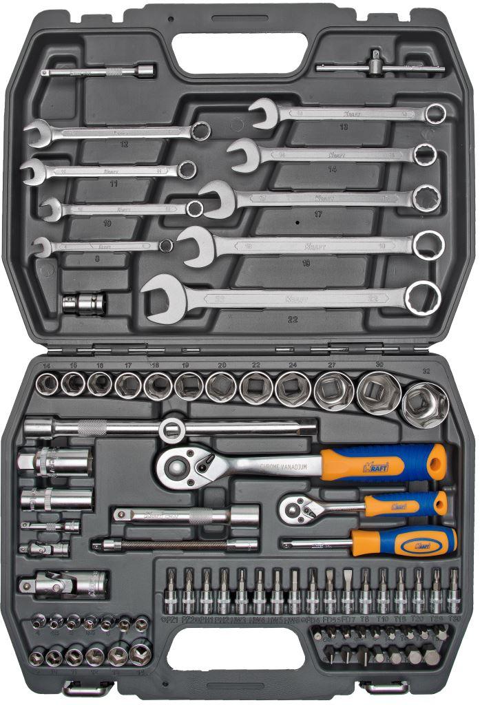 Набор инструментов Kraft Professional, универсальный, 1/2, 1/4, 82 предметаКТ 700305Набор инструментов Kraft Professional популярной комплектации, позволяет производить слесарно-монтажные работы с различными типами крепежа в широком диапазоне размеров, а также профилем E-star. Это полнофункциональный набор торцевых головок и принадлежностей для работы с приводом 1/2 и 1/4. Набор отлично подходит для обслуживания авто-мототехники.Состав набора:головки торцевые шестигранные 1/2: 14 мм, 15 мм, 16 мм, 17 мм, 18 мм, 19 мм, 20 мм, 21 мм, 22 мм, 24 мм, 27 мм, 30 мм, 32 мм; кардан шарнирный 1/2;головки торцевые свечные: 16 мм, 21 мм;удлинители 1/2: 125 мм, 250 мм;рукоятка трещоточная с быстрым сбросом 1/2: 250 мм, 72 зубца;держатель для бит-вставок 1/2;переходник3/8 (F) х 1/2 (М);биты-вставки 30 мм:- Torx: Т40, Т45, Т50, Т55;- Шлицевые: 8 мм, 10 мм, 12 мм;- Philips: РН3, РН4;- Pozidrive: PZ3, PZ4;головки торцевые шестигранные 1/4: 4 мм, 4,5 мм, 5 мм, 5,5 мм, 6 мм, 7 мм, 8 мм, 9 мм, 10 мм, 11 мм, 12 мм, 13 мм, 14 мм;удлинители 1/4: 50 мм, 100 мм;удлинитель гибкий 1/4: 145 мм;вороток Т-образный 1/4;кардан шарнирный 1/4;рукоятка трещоточная с быстрым сбросом 1/4: 145 мм, 72 зубца;рукоятка-удлинитель 1/4;головки торцевые 1/4 с насадками:- Torx: 8, 10, 15, 20, 25, 30;- Hex: 3 мм, 4 мм, 5 мм, 6 мм;- Шлицевые: 4 мм, 5,5 мм, 7 мм;- Philips: РН1, РН2;- Pozidrive: PZ1, PZ2;ключи рожково-накидные: 8 мм, 10 мм, 11 мм, 12 мм, 13 мм, 14 мм, 17 мм, 19 мм, 22 мм.Элементы набора Kraft Professional изготовлены из хромованадиевой стали марки 50BV30 со специальным трехслойным покрытием, обеспечивающим долговременную защиту от механических повреждений.
