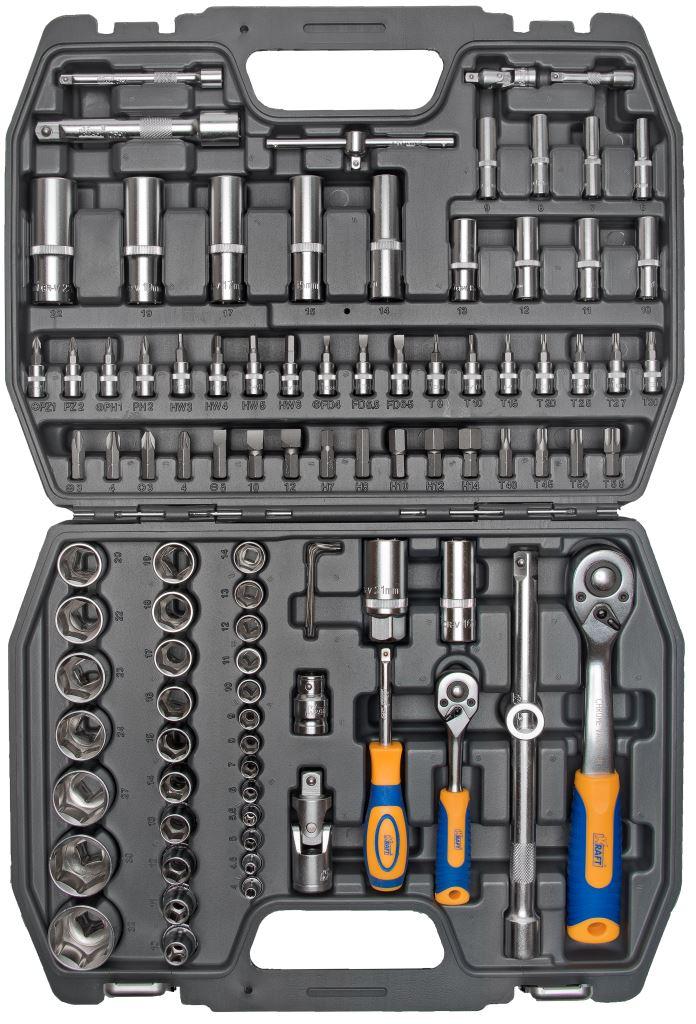 Набор инструментов Kraft Professional, 1/2, 1/4, 94 предметаКТ 700306Набор инструментов Kraft Professional базовой комплектации, позволяет производить обслуживание резьбовых соединений в широком диапазоне размеров. Полнофункциональный набор принадлежностей для работы с приводом 1/2 и 1/4. Состав набора:головки торцевые шестигранные 1/2: 10 мм, 11 мм, 12 мм, 13 мм, 14 мм, 15 мм, 16 мм, 17 мм, 18 мм, 19 мм, 20 мм, 22 мм, 23 мм, 24 мм, 27 мм, 30 мм, 32 мм;головки торцевые шестигранные высокие 1/2: 14 мм, 15 мм, 17 мм, 19 мм, 22 мм;кардан шарнирный 1/2;головки торцевые свечные: 16 мм, 21 мм;удлинитель 1/2: 125 мм, 250 мм;рукоятка трещоточная с быстрым сбросом 1/2: 250 мм, 72 зубца;держатель бит-вставок 1/2;переходник3/8 (F) х 1/2 (М);биты-вставки 1/2 30 мм:- Нех: 7 мм, 8 мм, 10 мм, 12 мм, 14 мм;- Torx: Т40, Т45, Т50, Т55;- Шлицевые: 8 мм, 10 мм, 12 мм;- Phillips: РН3, РН4;- Pozi: Pz3, Pz4;головки торцевые шестигранные 1/4: 4 мм, 4,5 мм, 5 мм, 5,5 мм, 6 мм, 7 мм, 8 мм, 9 мм, 10 мм, 11 мм, 12 мм 13 мм, 14 мм;головки торцевые высокие 12 граней 1/4: 6 мм, 7 мм, 8 мм, 9 мм, 10 мм, 11 мм, 12 мм, 13 мм;удлинители 1/4: 50 мм, 100 мм;вороток Т-образный 1/4;кардан шарнирный 1/4;рукоятка трещоточная с быстрым сбросом 1/4: 145 мм, 72 зубца;рукоятка-удлинитель 1/4;торцевые головки с битами-вставками 1/4:- Нех: 3 мм, 4 мм, 5 мм, 6 мм;- Torx: Т8, Т10, Т15, Т20, Т25, Т27, Т30;- Шлицевые: 4 мм, 5,5 мм, 6,5 мм;- Phillips: РН1, РН2;- Pozi: Pz1, Pz2;ключи торцевые шестигранные Г-образные: 1,5 мм, 2 мм, 2,5 мм.Элементы набора Kraft Professional изготовлены из хромованадиевой стали марки 50BV30 со специальным трехслойным покрытием, обеспечивающим долговременную защиту от механических повреждений.