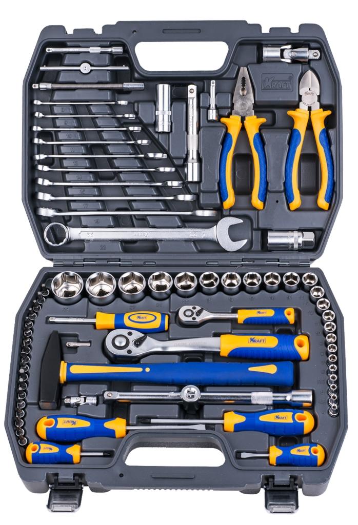 Набор инструментов Kraft Professional, универсальный, 1/2'', 1/4'', 73 предмета бокорезы kraft 180 мм кт 700577