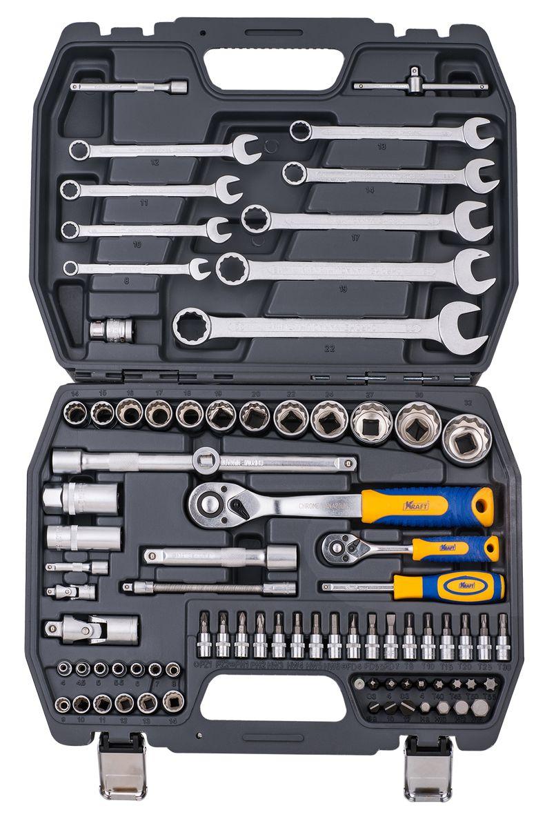 Набор инструментов Kraft Professional, двенадцатигранный, 1/2, 1/4, 82 предметаКТ 700681Набор инструментов Kraft Professional с торцевыми головками с 12-гранным рабочим профилем популярной комплектации, позволяет производить слесарно-монтажные работы с различными типами крепежа в широком диапазоне размеров. Полнофункциональный набор принадлежностей для работы с приводом 1/2 и 1/4. Также набор оснащен рожково-накидными ключами. Набор отлично подходит для обслуживания авто-мототехники.Состав набора:головки торцевые 1/2 12 граней: 14 мм, 15 мм, 16 мм, 17 мм, 18 мм, 19 мм, 20 мм, 21 мм, 22 мм, 24 мм, 27 мм, 30 мм, 32 мм; кардан шарнирный 1/2;головки торцевые свечные: 16 мм, 21 мм;удлинители 1/2: 125 мм, 250 мм;рукоятка трещоточная с быстрым сбросом 1/2: 250 мм, 72 зубца;держатель для бит-вставок 1/2;переходник 3/8 (F) х 1/2 (М);биты-вставки 1/2 30 мм:- Нех: 8 мм, 10 мм, 12 мм, 14 мм;- Torx: Т40, Т45, Т50, Т55;- Шлицевые: 8 мм, 10 мм, 12 мм;- Philips: РН3, РН4;- Pozidrive: PZ3, PZ4;головки торцевые 1/4 12 граней: 4 мм, 4,5 мм, 5 мм, 5,5 мм, 6 мм, 7 мм, 8 мм, 9 мм, 10 мм, 11 мм, 12 мм, 13 мм, 14 мм;удлинители 1/4: 50 мм, 100 мм;удлинитель гибкий 1/4: 145 мм;вороток Т-образный 1/4;кардан шарнирный 1/4;рукоятка трещоточная с быстрым сбросом 1/4: 145 мм, 72 зубца;рукоятка-удлинитель 1/4;головки торцевые 1/4 с насадками:- Torx: 8, 10, 15, 20, 25, 30;- Hex: 3 мм, 4 мм, 5 мм, 6 мм;- Шлицевые: 4 мм, 5,5 мм, 7 мм;- Philips: РН1, РН2;- Pozidrive: PZ1, PZ2;ключи рожково-накидные: 8 мм, 10 мм, 22 мм, 12 мм, 23 мм, 14 мм, 17 мм, 19 мм, 22 мм.Элементы набора Kraft Professional изготовлены из хромованадиевой стали марки 50BV30 со специальным трехслойным покрытием, обеспечивающим долговременную защиту от механических повреждений.