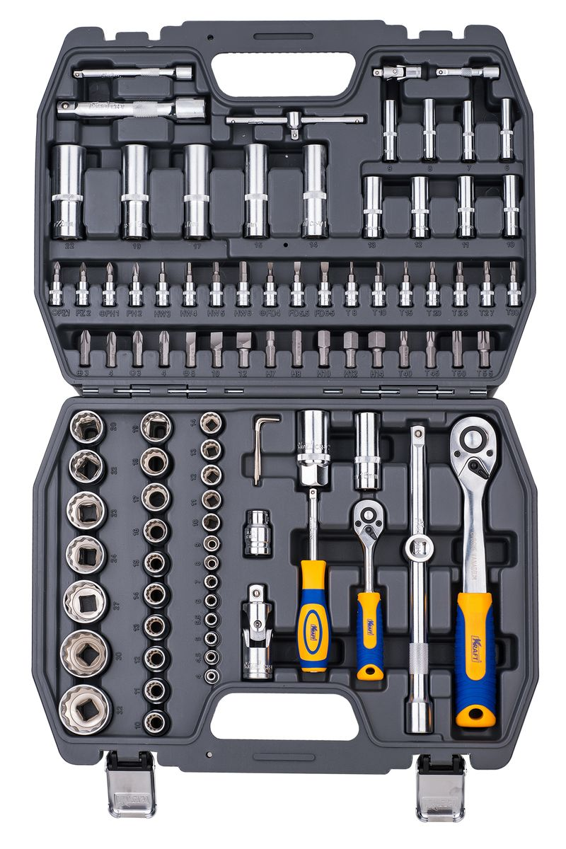 Набор инструментов Kraft Professional, двенадцатигранный, 1/2, 1/4, 94 предмета набор торцевых головок jonnesway 3 8dr 6 22 мм и комбинированных ключей 7 17 мм 36 предметов