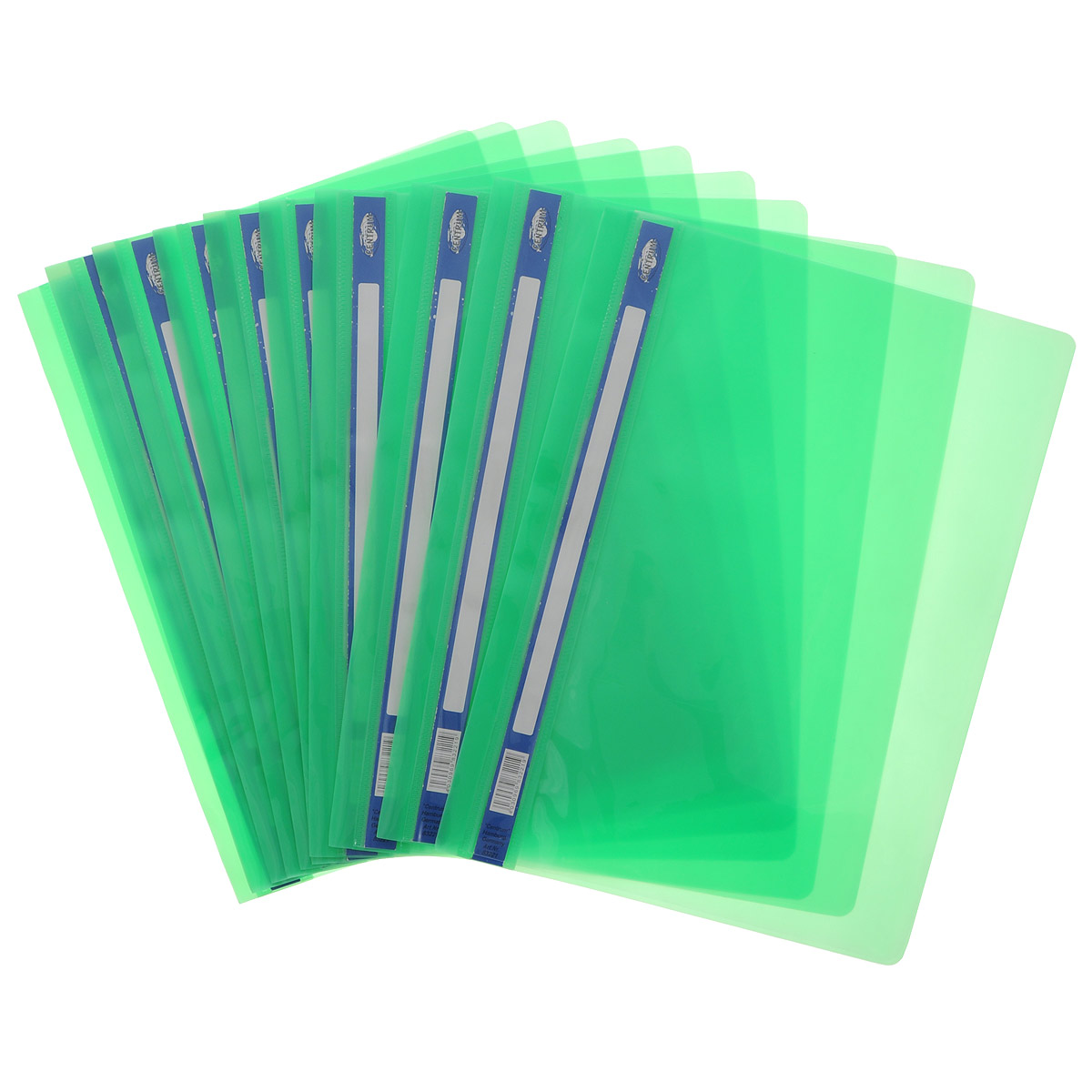 Папка-скоросшиватель Centrum, цвет: зеленый. Формат А4, 10 шт. 83221ОFS-36052Папка-скоросшиватель Centrum - это удобный и практичный офисный инструмент, предназначенный для хранения и транспортировки рабочих бумаг и документов формата А4. Папка изготовлена из полупрозрачного глянцевого пластика. В комплект входят 10 папок формата А4. Папка-скоросшиватель - это незаменимый атрибут для студента, школьника, офисного работника. Такая папка надежно сохранит ваши документы и сбережет их от повреждений, пыли и влаги.