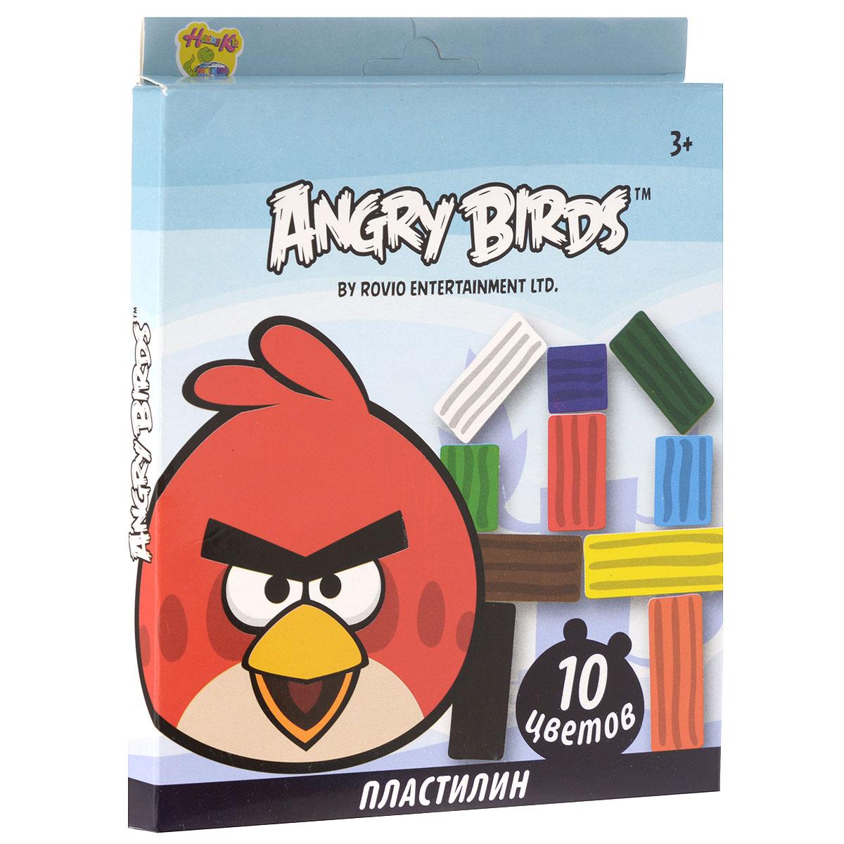 Пластилин Angry Birds, 10 цветов84440Пластилин Angry Birds - это отличная возможность познакомить ребенка с еще одним из видов изобразительного творчества, в котором создаются объемные образы и целые композиции.В набор входит пластилин 10 ярких цветов (красный, темно-зеленый, черный, оранжевый, светло-зеленый, белый, желтый, синий, коричневый, голубой), а также пластиковый стек для нарезания пластилина.Цвета пластилина легко смешиваются между собой, и таким образом можно получить новые оттенки. Пластилин имеет яркие, красочные цвета и не липнет к рукам.Техника лепки богата и разнообразна, но при этом доступна даже маленьким детям. Занятия лепкой не только увлекательны, но и полезны для ребенка. Они способствуют развитию творческого и пространственного мышления, восприятия формы, фактуры, цвета и веса, развивают воображение и мелкую моторику.