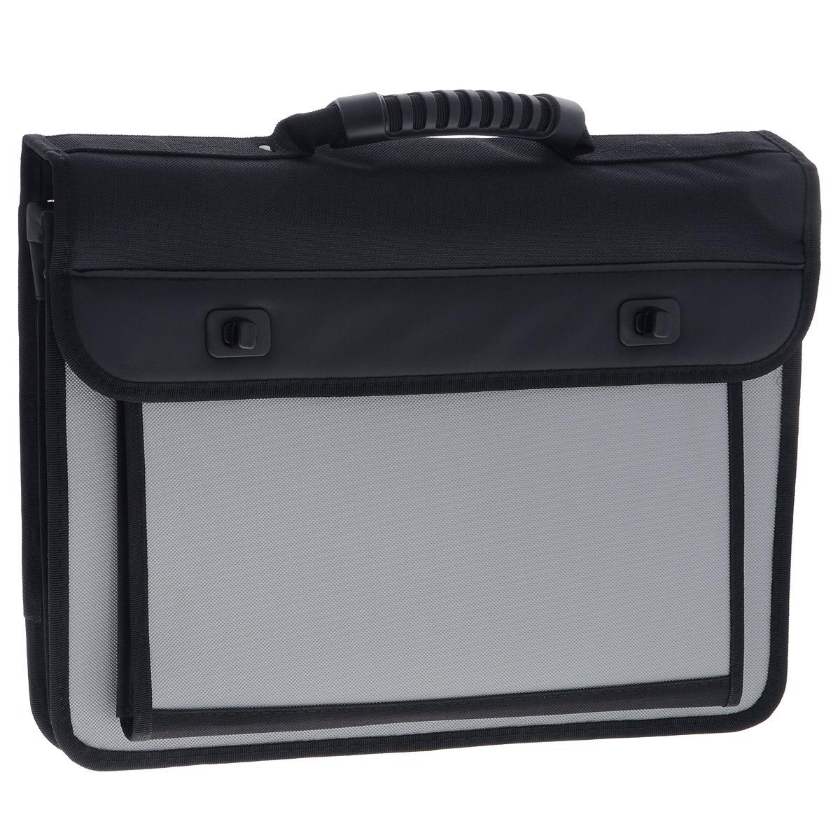 Berlingo Папка-портфель на застежках цвет черный серыйADb_04058Папка-портфель Berlingo - это удобный и практичный офисный инструмент, предназначенный для хранения и транспортировки большого количества рабочих бумаг и документов формата А4. Папка-портфель изготовлена из плотного пластика с зернистым тиснением, оснащена удобной ручкой для переноски, закрывается на клапан с 2 пластиковыми замками. Грани папки имеют мягкую отделку. Папка состоит из 2 отделений, разделенных пластиковым разделителем. Внутри расположены 3 открытых кармана, 3 кармашка для ручек и накладной карман на застежке-молнии. Фронтальная сторона сумки дополнена вместительным карманом, закрывающимся на клапан с липучкой и разграниченный пластиковым разделителем. На тыльной стороне расположен прорезной карман на застежке-молнии.Папка оснащена удобным плечевым ремнем с эргономичной мягкой накладкой.Папка-портфель - это незаменимый атрибут для студента, школьника, офисного работника. Такая папка надежно сохранит ваши документы и сбережет их от повреждений, пыли и влаги.