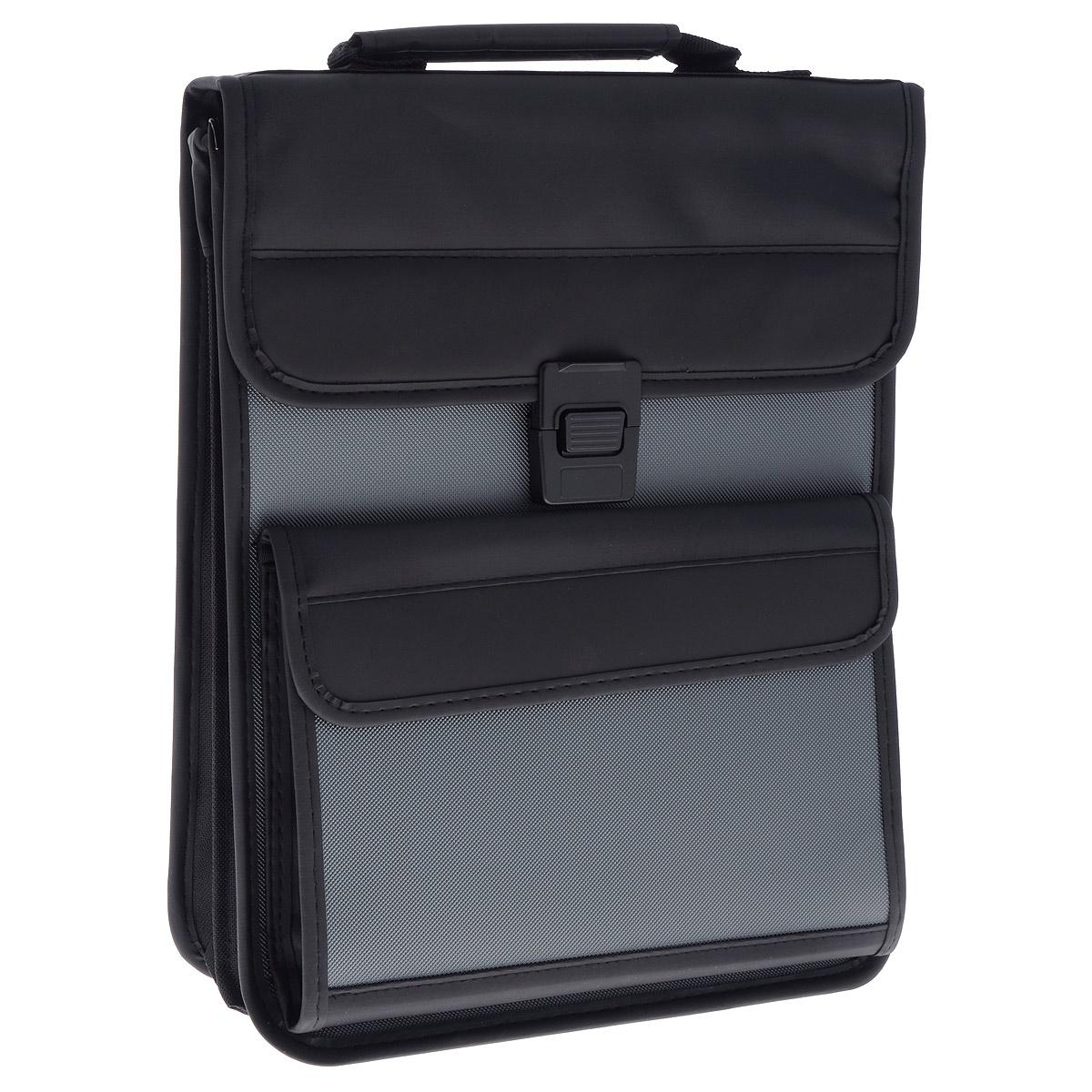 Berlingo Папка-портфель вертикальная цвет черный серыйADb_04048Вертикальная папка-портфель Berlingo - это удобный и практичный офисный инструмент, предназначенный для хранения и транспортировки большого количества рабочих бумаг и документов. Папка-портфель изготовлена из плотного пластика с зернистым тиснением, оснащена удобной ручкой для переноски, закрывается на широкий клапан с пластиковым замком. Грани папки имеют мягкую отделку, уголки укреплены металлическими накладками.Папка состоит из 2 отделений, разделенных средником на застежке-молнии. Внутри первого отделения расположены 2 открытых кармана и накладной карман, закрывающийся на клапан с липучкой, а также 3 кармашка для ручек. Фронтальная сторона сумки дополнена вместительнымкарманом, закрывающимся на клапан с липучкой, внутри которого расположен карман-сеточка на застежке-молнии. Папка оснащена удобным плечевым ремнем с эргономичной мягкой накладкой.Папка-портфель - это незаменимый атрибут для студента, школьника, офисногоработника. Такая папка надежно сохранит ваши документы и сбережет их от повреждений, пыли и влаги.