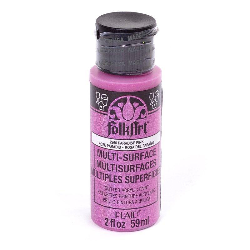 Краска акриловая FolkArt Multi-Surface Glitter, цвет: розовый (2960), 59 млPLD-02960Краска акриловая FolkArt Multi-Surface Glitter - это прочная погодоустойчивая сатиновая краска с блестками. Не токсична, на водной основе. Предназначена для различных видов поверхностей: стекло, керамика, дерево, металл, пластик, ткань, холст, бумага, глина. Идеально подходит как для использования в помещении, так и для наружного применения. Изделия, покрытые такой краской, можно мыть в посудомоечной машине в верхнем отсеке. Перед применением краску необходимо хорошо встряхнуть. Краски разных цветов можно смешивать между собой. Перед повторным нанесением краски дать высохнуть в течении 1 часа. До высыхания может быть смыта водой с мылом.