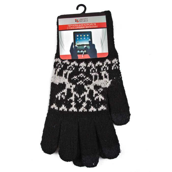 """Liberty Project """"Олени"""", Black перчатки для сенсорных экранов, размер S (1008)"""