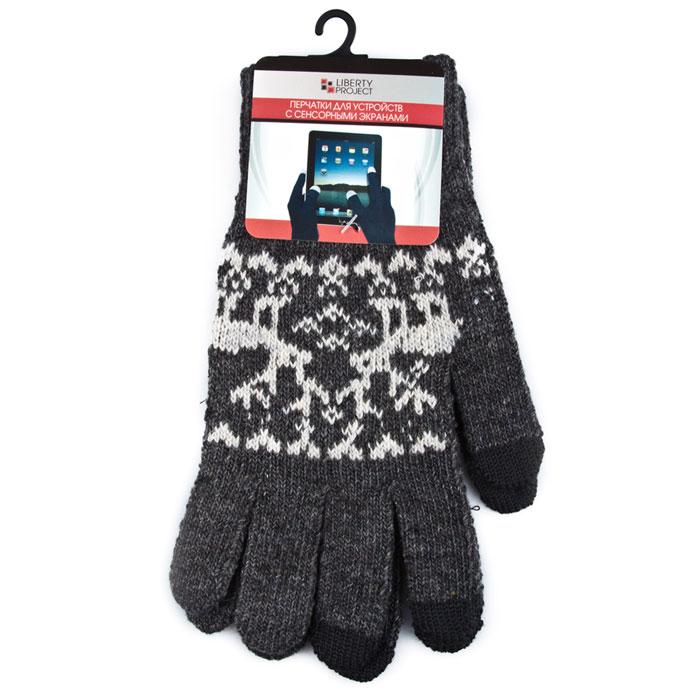 Liberty Project Олени, Grey перчатки для сенсорных экранов, размер S (1008)R0000500Перчатки Liberty Project Олени предназначены для удобства использования цифровых устройств с сенсорными экранами в сезон холодов и для работы при низких температурах. Указательный, средний и большой пальцы имеют на подушечках перчаток проводящие сенсорные нити, что позволяет пользоваться мобильным устройством, не снимая перчаток.