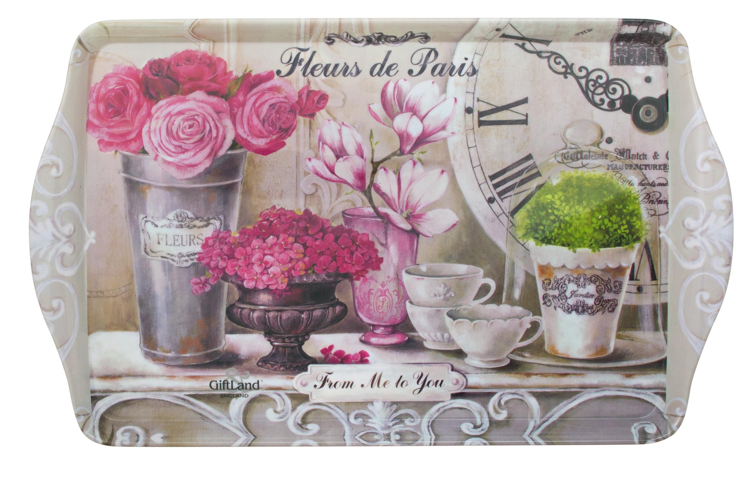"""Прямоугольный поднос GiftLand """"Парижские цветы"""" выполнен из высококачественного и  жаропрочного пластика и украшен изображением цветов. Красочный дизайн подноса придаст  оригинальность и яркость любой кухне или столовой.  Такой поднос станет незаменимым предметом для сервировки стола. Компактный поднос  предохранит поверхность стола от грязи и перегрева. Изделие устойчиво к высоким  температурам. Можно мыть в посудомоечной машине и использовать в микроволновой  печи.  Размер подноса: 38,8 см x 24 см.  Высота подноса: 2,2 см."""