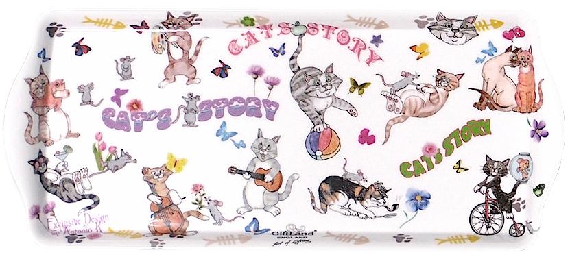 Поднос сервировочный GiftLand Веселые Кошки, 16,5 x 38 смML-003 CatsПрямоугольный поднос GiftLand Веселые Кошки выполнен из высококачественного, жаропрочного пластика и украшен изображением кошек. Красочный дизайн подноса придаст оригинальность и яркость любой кухне или столовой.Такой поднос станет незаменимым предметом для сервировки стола. Компактный поднос предохранит поверхность стола от грязи и перегрева. Изделие устойчиво к высоким температурам.Можно мыть в посудомоечной машине. Можно использовать в микроволновой печи.Размер подноса: 16,5 см x 38 см.Высота подноса: 2 см.