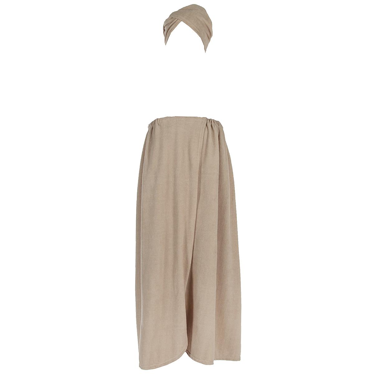 """Комплект женский для бани и сауны """"Главбаня"""", цвет: бежевый, 2 предмета. Размер XXL"""