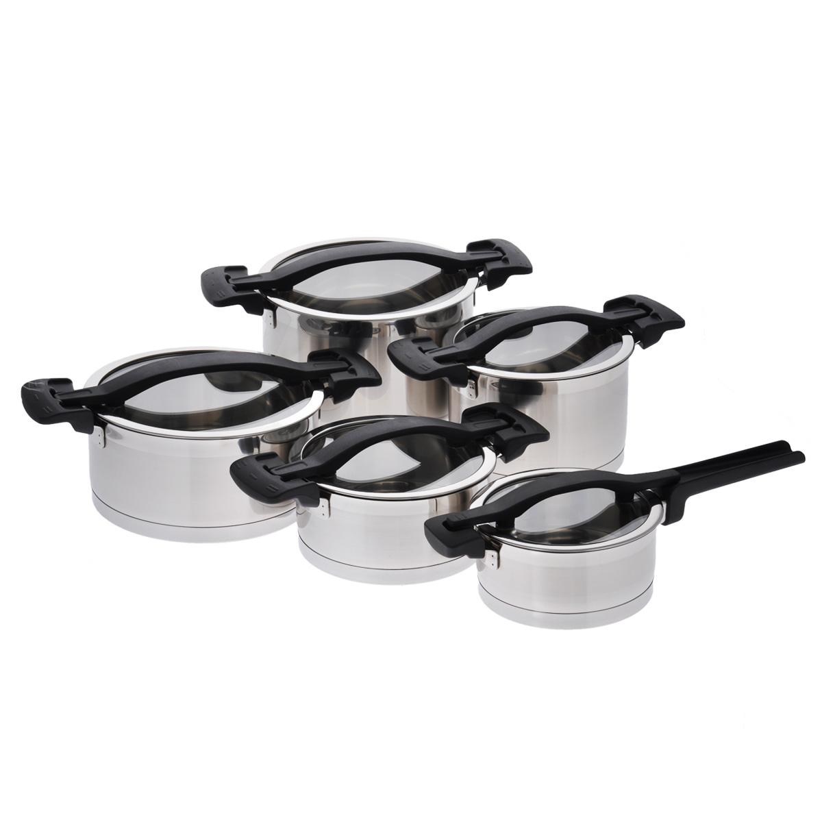 """Набор посуды Tescoma """"Ultima"""", изготовленный из высококачественной   нержавеющей   стали 18/10, состоит из четырех кастрюль и ковша. Все предметы набора   оснащены   стеклянными крышками. Крышки снабжены ободами из нержавеющей стали и   удобными нейлоновыми ручками. Уникальные крышки оснащены тремя рабочими   функциями:   без отверстия для пара - быстрое кипячение и разогрев еды, экономия энергии;  небольшое отверстие для пара - для комфортного приготовления пищи;   большое отверстие для пара - для приготовления жидких блюд, картофеля,    макарон, супов. Посуда снабжена толстым многослойным дном, что   значительно снижает вероятность пригорания пищи. Внешняя поверхность   изделий оформлена сочетанием зеркальной и матовой полировки. Изделия   оснащены удобными   ручками из прочного и легкого нейлона.     Набор посуды Tescoma """"Ultima"""" - это идеальный подарок для современных   хозяек,   которые следят за своим здоровьем и здоровьем своей семьи. Эргономичный   дизайн и функциональность позволят вам наслаждаться процессом   приготовления любимых и полезных для здоровья блюд.   Можно мыть в посудомоечной машине. Набор пригоден для всех типов плит,   включая   индукционные.   Диаметр кастрюль: 18 см, 18 см, 22 см, 22 см. Объем кастрюль: 2 л, 3 л, 4 л, 5,5 л. Высота кастрюль: 12,5 см, 11 см, 15 см, 9 см. Ширина кастрюль (с учетом крышек): 31 см, 35 см, 31 см, 35 см. Диаметр ковша: 16 см. Объем ковша: 1,5 л. Высота ковша: 8 см. Длина ручки ковша: 15 см. Толщина стенок посуды: 2 мм. Толщина дна посуды: 3 мм."""
