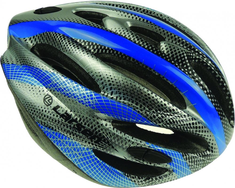 Шлем роликовый раздвижной Larsen, цвет: черный, серый, синий. Размер: 57-60 см