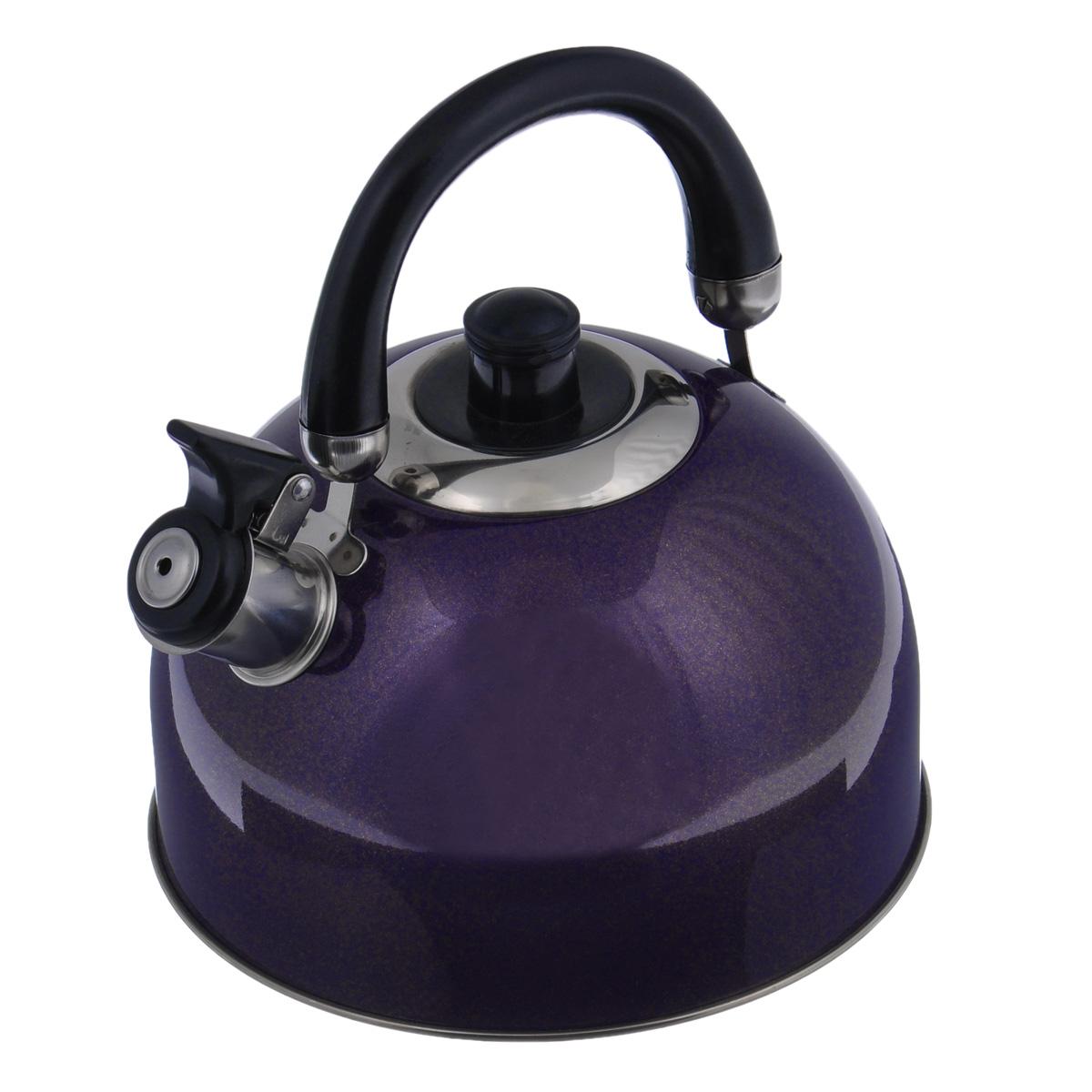 Чайник Mayer & Boch Modern со свистком, цвет: фиолетовый, 2,7 л. 23595-223595-2Чайник Mayer & Boch Modern выполнен из высококачественной нержавеющей стали, что обеспечивает долговечность использования. Внешнее цветное эмалевоепокрытие придает приятный внешний вид. Подвижная ручка из бакелита делает использование чайника очень удобным и безопасным. Чайник снабжен свистком и устройством для открывания носика.Можно мыть в посудомоечной машине. Пригоден для всех видов плит, включая индукционные.Высота чайника (без учета крышки и ручки): 11,5 см.Диаметр основания: 20 см.