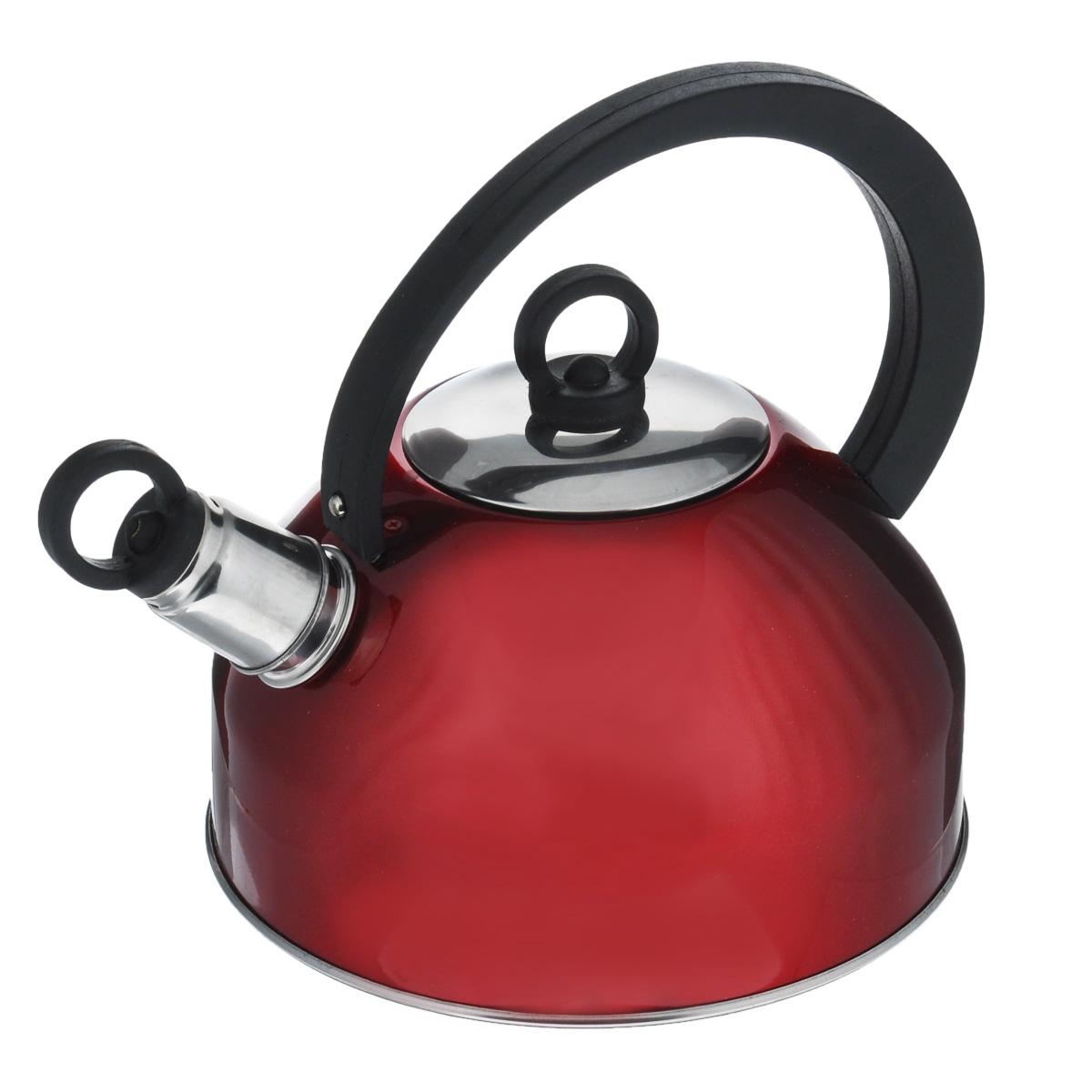 Чайник Mayer & Boch со свистком, цвет: красный, 2,5 л. 32273227Чайник Mayer & Boch изготовлен из высококачественной нержавеющей стали. Гладкая и ровная поверхность существенно облегчает уход. Он оснащен удобной нейлоновой ручкой, которая не нагревается даже при продолжительном периоде нагрева воды. Носик чайника имеет насадку-свисток, что позволит вам контролировать процесс подогрева или кипячения воды. Выполненный из качественных материалов чайник Mayer & Boch при кипячении сохраняет все полезные свойства воды.Подходит для газовых, электрических и галогеновых плит. Не подходит для индукционных плит.Диаметр основания чайника: 18,5 см.Высота чайника (с учетом ручки): 19,5 см.Высота чайника (без учета ручки): 11,5 см.