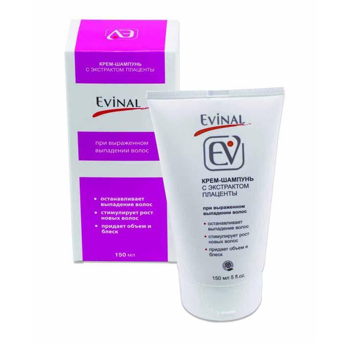 Крем-шампунь Evinal с экстрактом плаценты при выраженном выпадении волос, для всех типов волос, 150 мл0462Крем-шампунь Evinal от выпадения волос рекомендован тем, кто хочет иметь здоровые и пышные волосы. Особенно рекомендуется при выраженном выпадении волос, когда количество выпавших волос в сутки превышает 100. Шампунь - уникальный регулятор роста волос. Он снижает андрогенизацию кожи, устраняя тем самым главную причину выпадения волос. Биологически активные вещества плаценты усиливают рост волос, а минерально-витаминный комплекс способствует укреплению волос, придавая им блеск и жизненную силу.Действие:останавливает выпадение волос, стимулирует восстановление и рост новых волос, нейтрализует статическое электричество, укрепляет корни волос, защищает поверхность волос от внешних воздействий, придает объем волосам, делает волосы живыми, блестящими и безупречно ухоженными, облегчает моделирование прически.Рекомендован для ежедневного использования. Характеристики: Объем: 150 мл. Производитель: Россия. Артикул: 0462. Товар сертифицирован.