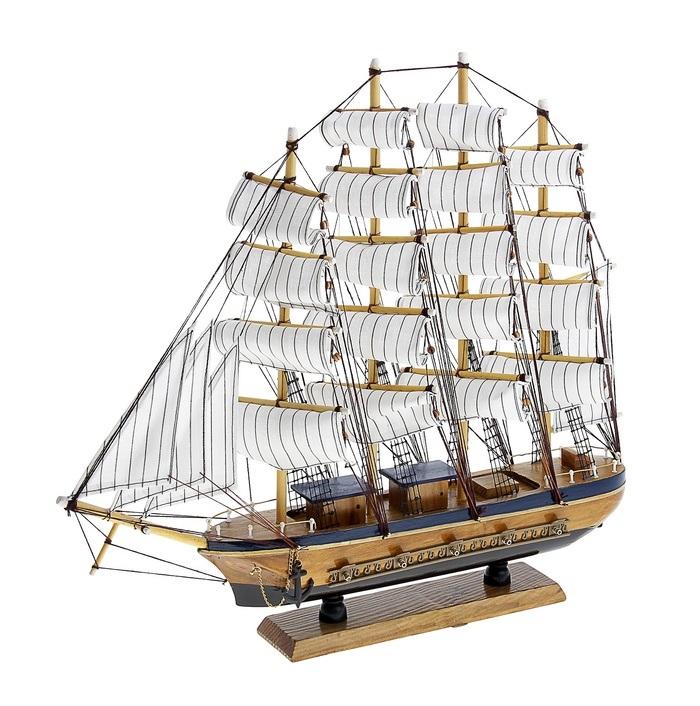 Корабль сувенирный Попутного ветра, длина 50 см. 417245417245Сувенирный корабль Попутного ветра, изготовленный из дерева и текстиля, это великолепный элемент декора рабочей зоны в офисе или кабинете. Корабль с парусами и якорями помещен на деревянную подставку. Время идет, и мы становимся свидетелями развития технического прогресса, новых учений и практик. Но одно не подвластно времени - это любовь человека к морю и кораблям. Сувенирный корабль наполнен историей и силой океанских вод. Данная модель кораблика станет отличным подарком для всех любителей морей, поклонников историй о покорении океанов и неизведанных земель. Модель корабля - подарок со смыслом. Издавна на Руси считалось, что корабли приносят удачу и везение. Поэтому их изображения, фигурки и точные копии всегда присутствовали в помещениях. Удивите себя и своих близких необычным презентом.