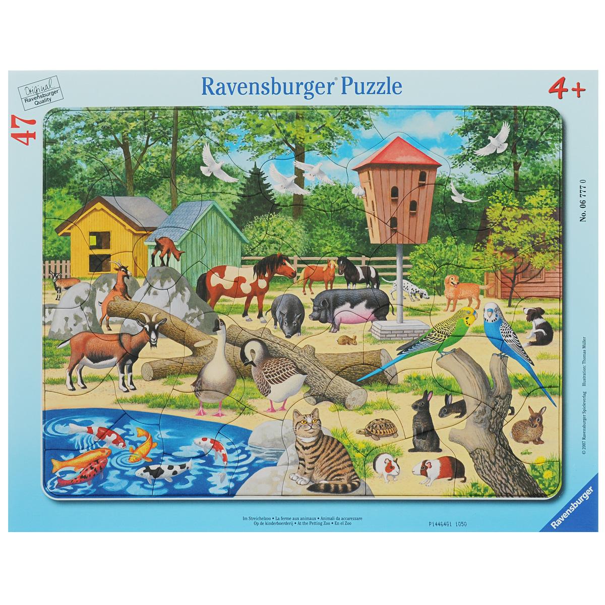 Ravensburger В детском зоопарке. Пазл, 47 элементов ravensburger историческая карта пазл 5000 элементов