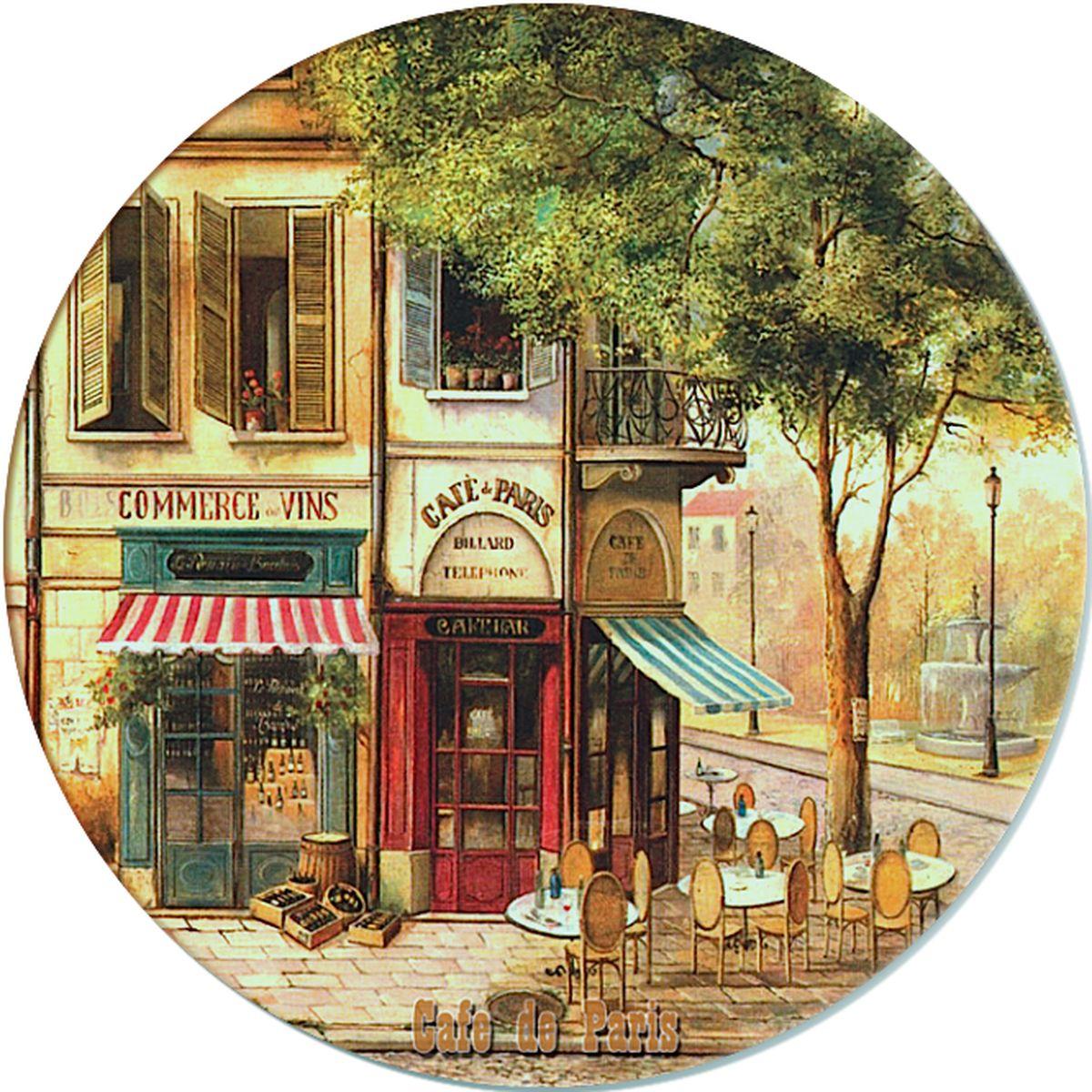 Доска разделочная GiftnHome Парижское кафе, стеклянная, диаметр 19 смRCB-01-CafeРазделочная доска GiftnHome Парижское кафе выполнена из жароустойчивого стекла. Изделие, украшенное красочным изображением, идеально впишется в интерьер современной кухни. Специальное покрытие вкладыша обеспечивает стойкость к влаге и высоким температурам. Изделие легко чистить от пятен и жира. Также доску можно применять как подставку под горячее.Разделочная доска GiftnHome Парижское кафе украсит ваш стол и сбережет его от воздействия высоких температур ваших кулинарных шедевров. Можно мыть в посудомоечной машине.Диаметр доски: 19 см. Толщина доски: 0,4 см.