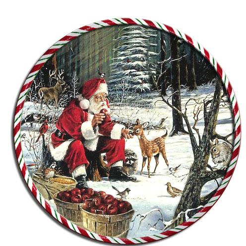 Подставка под горячее GiftnHome Санта с животными, диаметр 17 смRCST -01-Santa with AnimaКруглая подставка под горячее GiftnHome Санта с животными выполнена из пробки. Изделие, украшенное красочным изображением, идеально впишется в интерьер современной кухни. Ламинированное покрытие изделий обеспечивает стойкость к высоким температурам. Изделия легко очистить от пятен влажной губкой.Каждая хозяйка знает, что подставка под горячее - это незаменимый и очень полезный аксессуар на каждой кухне. Ваш стол будет не только украшен оригинальной подставкой с красивым рисунком, но и сбережен от воздействия высоких температур ваших кулинарных шедевров. Не рекомендуется полностью погружать изделие в воду. Предельная температура 90°С. Диаметр подставки: 17 см.Толщина подставки: 0,5 см.