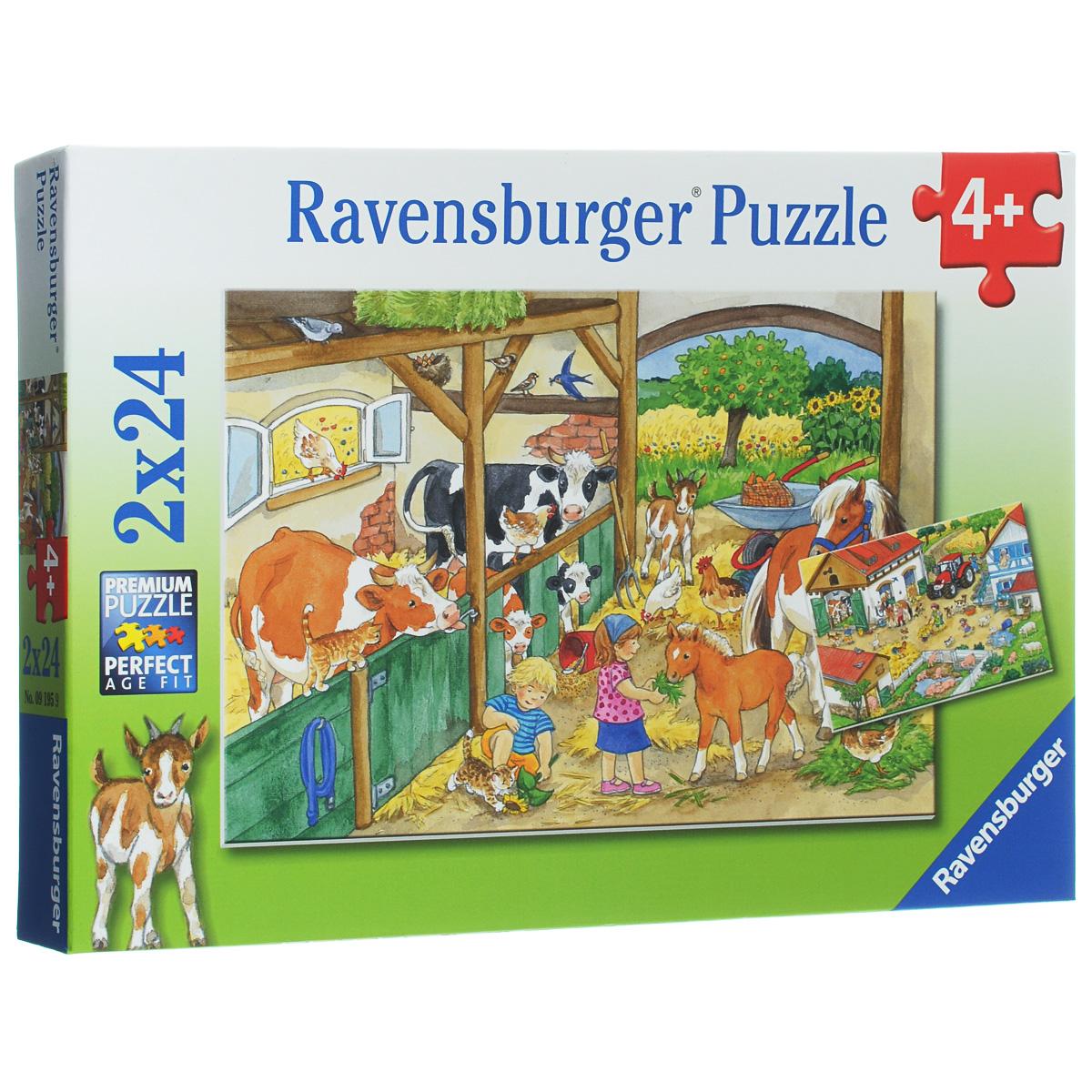 Ravensburger День на ферме. Пазл, 2 х 24 элемента