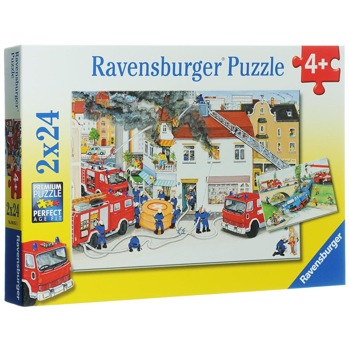 Ravensburger Пожарная бригада. Пазл, 2 х 24 элемента