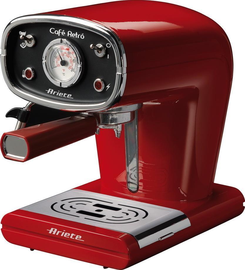 Ariete Cafe Retro, Red кофеварка (1388)1388 redЭто современный стиль дизайна с помощью простых в использовании функций. Стальной корпус в металлической отделкой, тумблеры с подсветкой, датчик температуры, качества паром и пеной с макси-капучино устройства. Легко моется дизайн включает в себя съемный бак с уровнем воды видны. Адаптируемые для использования молотого кофе или кофейной сервировки.Как выбрать кофеварку. Статья OZON Гид