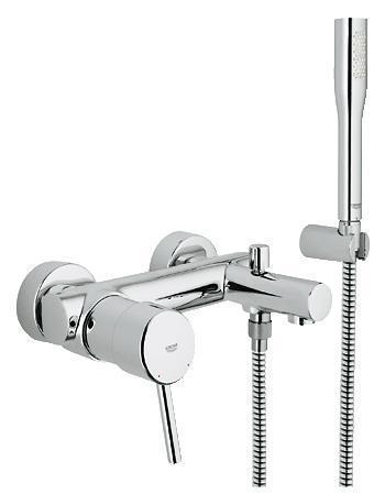 GROHE Concetto: смеситель для ванны с ручным душем и водосберегающим механизмом Если Вам нравится подолгу нежиться в ванне, этот смеситель для ванны из серии Concetto станет для Вас идеальным выбором. Он комплектуется ручным душем Euphoria Cosmopolitan с режимом струи GROHE Normal, в котором вода подается мощным потоком тонких струй, превращая каждое принятие душа в приятную спа-процедуру. Водосберегающая технология GROHE EcoJoy ограничивает расход воды до 9,5 литров в минуту. Система внутренних протоков InnerWater Guide предотвращает чрезмерный нагрев ручного душа. Встроенный обратный клапан предотвращает попадание сточной воды в систему водоснабжения. Благодаря системе SpeedClean душевой диск легко очищается от известкового налета простым протиранием. Сияющее хромированное покрытие GROHE StarLight сделает данный смеситель центром внимания в интерьере ванной комнаты. Особенности:   Настенный монтаж  Металлический рычаг  GROHE SilkMove керамический картридж O 46 мм  GROHE StarLight хромированная поверхность   Регулировка расхода воды  Возможность установки мин. расхода 2,5 л/мин.  Автоматический переключатель: ванна/душ  Встроенный обратный клапан в душевом отводе 1/2?  Аэратор  С душевым гарнитуром  Скрытые S-образные эксцентрики  Включает в себя:  Ручной душ Euphoria Cosmopolitan (27 400 000)  Настенный держатель (27 056 000)  Душевой шланг Relexaflex 1500 мм 1/2? x 1/2? (28 151 000)  Дополнительный ограничитель температуры (46 308 000)  С защитой от обратного потока  Класс шума I по DIN 4109     Видео по установке является исключительно информационным. Установка должна проводиться профессионалами!