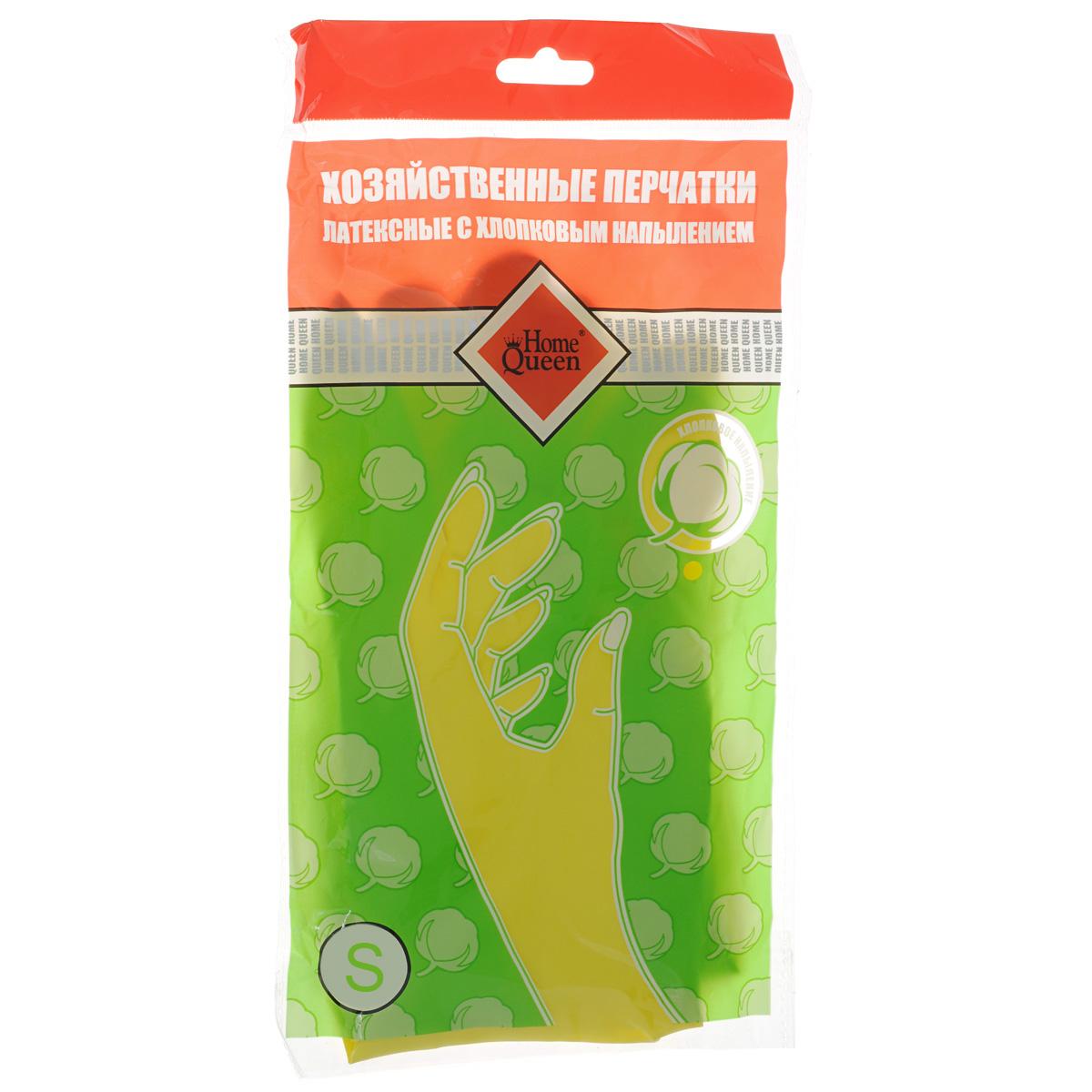 Перчатки латексные Home Queen, с хлопковым напылением. Размер S перчатки латексные с манжетой из пвх и внутренним хлопковым напылением размер м 29479