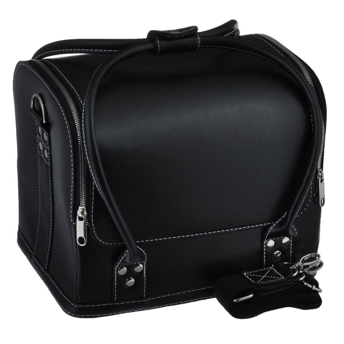 Сумка для швейных принадлежностей Prym, цвет: черный, 31 х 23 х 25 см612822Сумка Prym выполнена из искусственной кожи. Сумка Prym предназначена для хранения швейных принадлежностей. Сумка имеет большое отделение, в котором имеются выдвижные отделения для швейных принадлежностей. Закрывается сумка на молнию. Также сумка имеет ручки для удобной носки в руках и ручку через плечо. Сумка не оставит равнодушной ни одну любительницу изысканных вещей.Сочетание оригинального дизайна и функциональности сделают такую сумку практичным и стильным предметом гордости ее обладательницы. Размер сумки: 31 см х 23 см х 25 см.