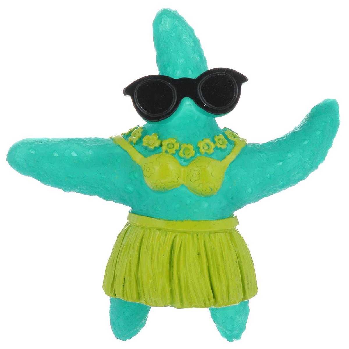 Игрушка для собак Ziver Морская звезда, с пищалкой, цвет: зеленый, высота 12,5 см игрушка для собак ziver осел длинноухий с пищалкой цвет голубой 18 см