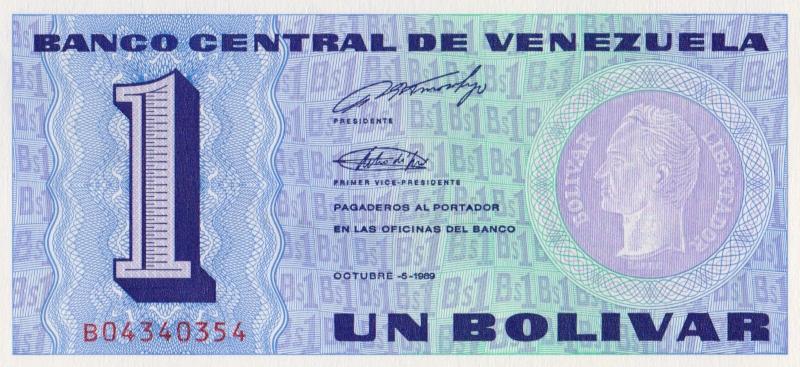 Банкнота номиналом 1 боливар. Венесуэла. 1989 год