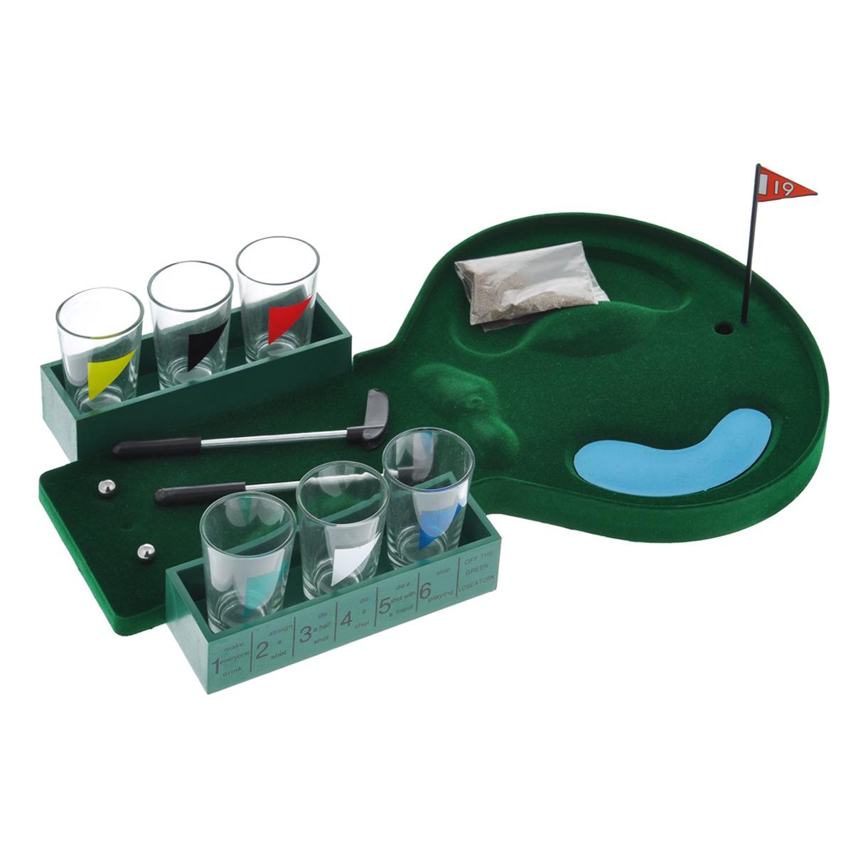 Пьяный гольф со стопками Эврика94948Пьяный гольф со стопками Эврика - это отличная настольная игра для проведения веселых вечеринок. Она состоит из 6 стопок, 2 минигольф клюшек, 1 пакета с песком, 2 металлических шариков, 1 миниатюрного поля для гольфа и 1 флажка. Такой набор станет отличным подарком.
