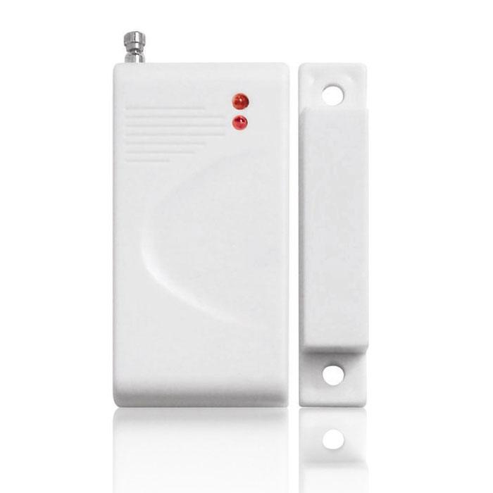 Sapsan DM-100 беспроводной датчик открытия двериDM-100Sapsan DM-100 - беспроводной датчик открытия двери, который работает по принципу взаимодействиямагнитного детектора, расположенного на неподвижной части двери или рамы, и магнита, установленного надвижущейся части конструкции, в ходе которого происходит размыкание притягивавшихся элементов. При этомрасстояние между двумя этими элементами датчика не должно превышать 1,5 см. Важным ограничением такжеявляется то, что беспроводные датчики данной модели не предназначены для размещения на металлическихдверях.Тип элемента питания: А23