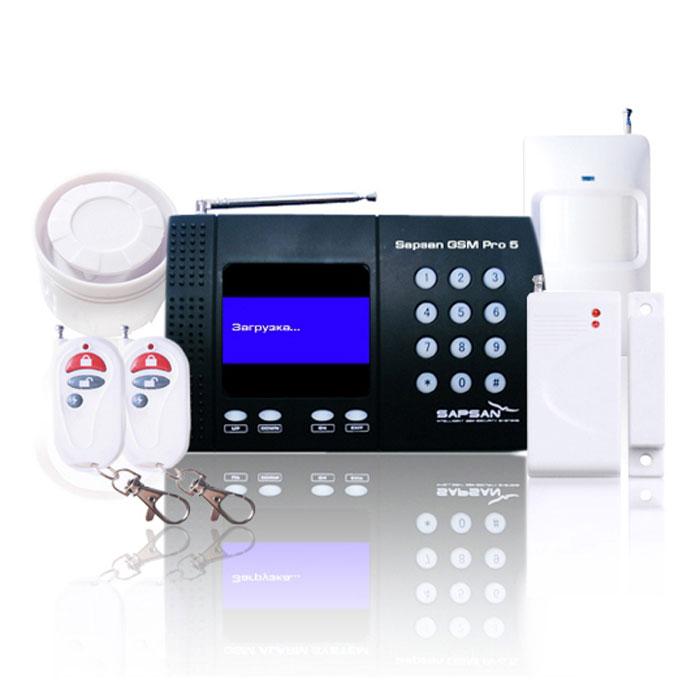 Sapsan GSM PRO 5T Универсал GSM-сигнализацияУниверсалSapsan GSM PRO 5T со встроенным температурным датчиком представляет собой новое решение защитыбезопасности и специально создана для использования в отапливаемых помещениях (дома, офисы, коттеджи,дачи, магазины, гаражи, склады и т.д.).Система основана на использовании сотовой GSM связи для оповещения владельца сигнализации опроникновении на объект и для управления электрическим оборудованием посредством сотового телефона. Присрабатывании любого из охранных или пожарных датчиков, сигнализация осуществляет телефонный звонок илиотправку SMS сообщения на номера пользователей которые были занесены в систему.Система Sapsan GSM PRO 5T оборудована LCD дисплеем с операционным меню, таким образом, все действия инастройки визуализированы и интуитивно понятны. Система оборудована 1-м слаботочным релейным выходом,подобно выключателю, используется для управления сиреной, DVR , светом, воротами или другимиэлектрическими приборами, которые система может активировать/дезактивировать. Наличие в разъема miniUSBдает возможность подключить систему к персональному компьютеру и осуществить настройку прибора с помощьюпрограммного обеспечения, которое входит в комплект поставки.Рабочая частота 433 МГцЖурнал событий Возможность совершения звонков с контрольной панели Количество номеров для тревожных сообщений: 10 Резервное питание от аккумулятора в течение 12 ч