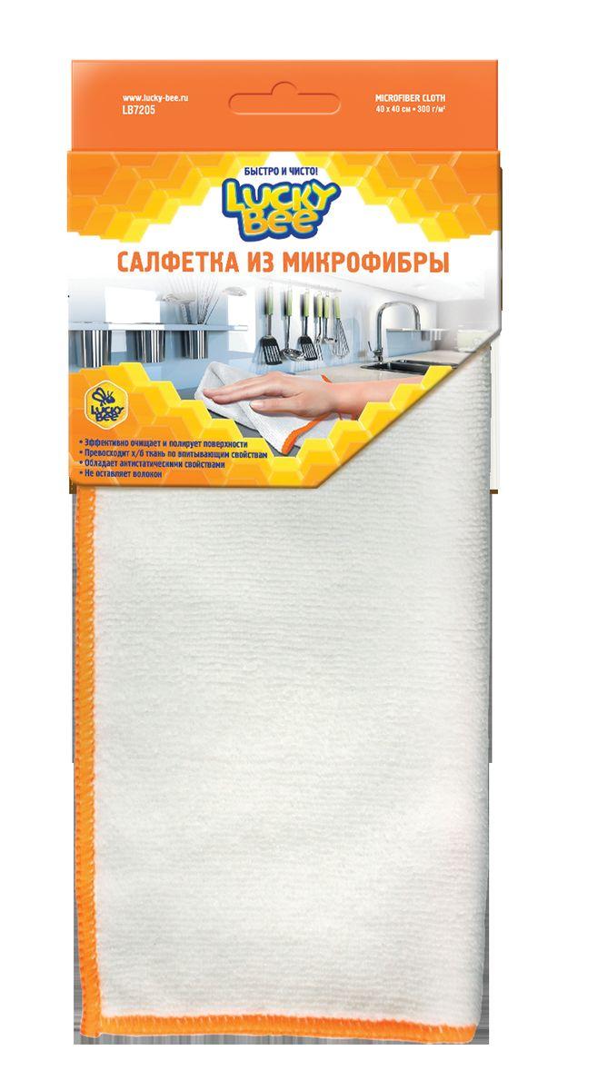 Салфетка из микрофибры для уборки Lucky Bee, цвет: белый, 40 х 40 смLB7205Салфетка из микрофибры Lucky Bee деликатно удаляет загрязнения с любых поверхностей с использованием чистящих средств или без них. Позволяет быстро собрать значительный объем влаги и высушить поверхность в считанные минуты. Обладает антистатическими свойствами. Салфетка может использоваться для сухой и влажной уборки, в том числе с моющими средствами. Не оставляет разводов и ворсинок.Размер салфетки: 40 см х 40 см.