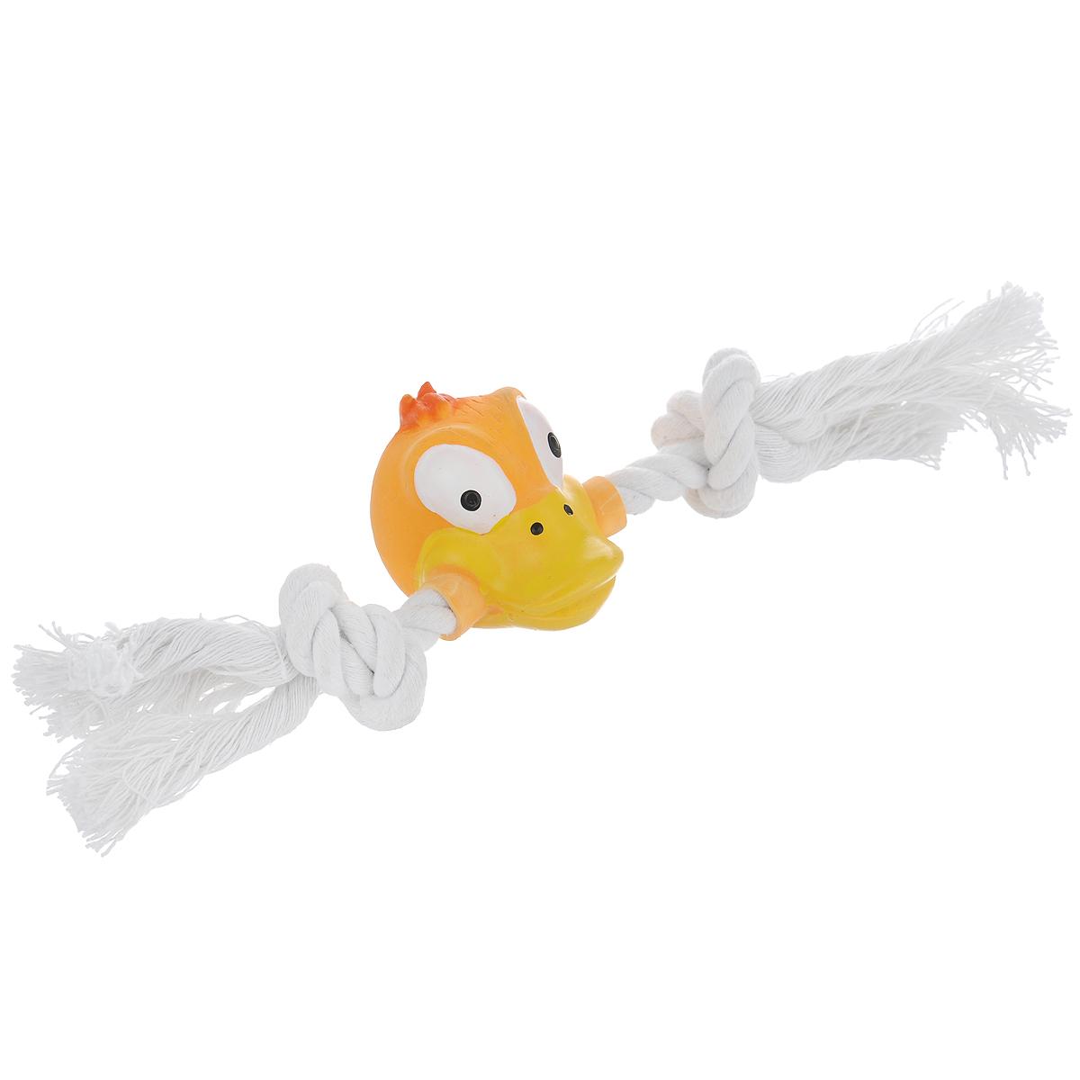 Игрушка для собак Ziver Утка с канатом, с пищалкой, цвет: оранжевый, длина 21 см игрушка для собак ziver осел длинноухий с пищалкой цвет голубой 18 см
